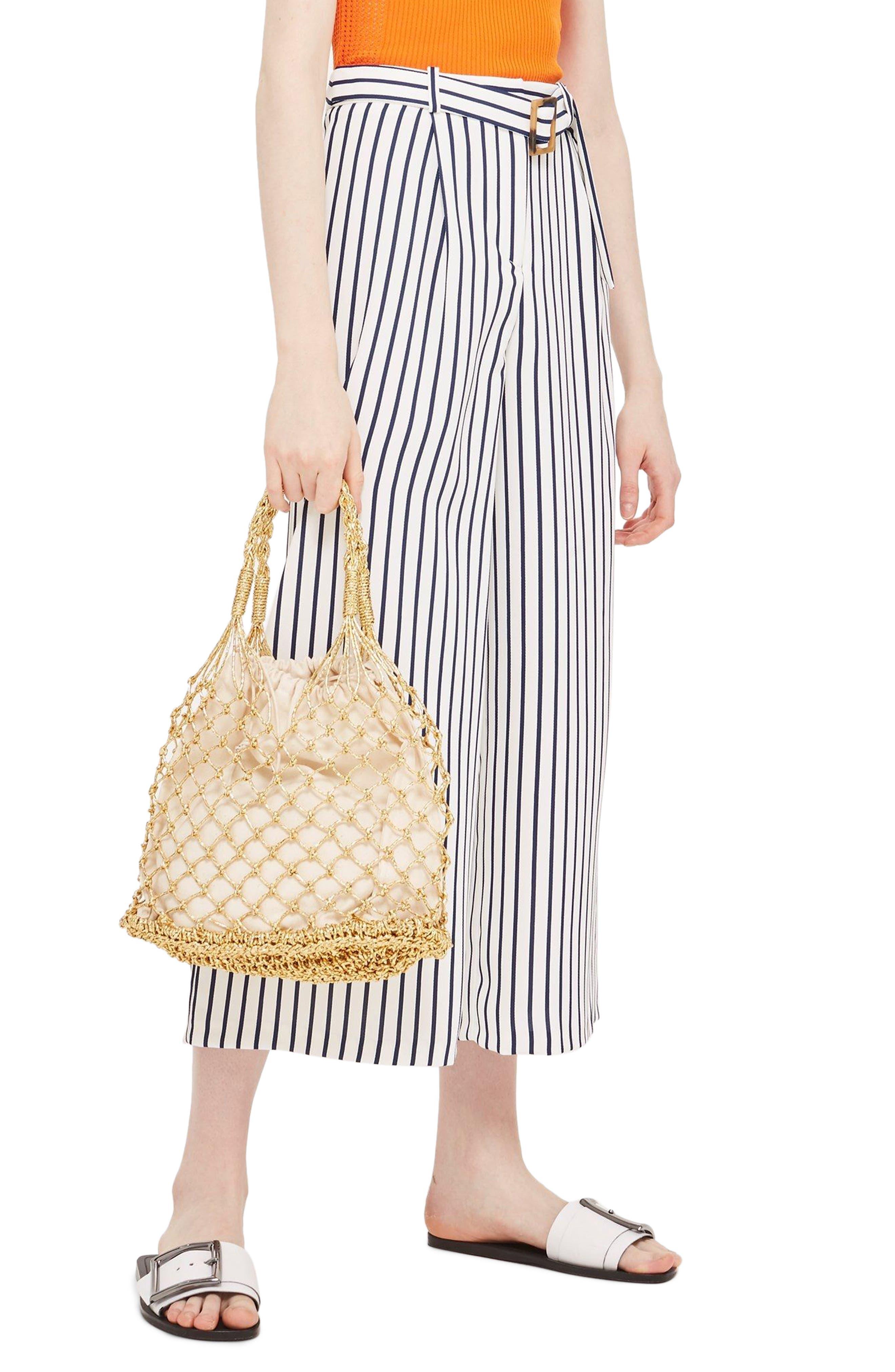 Stripe Wide Leg Crop Trousers,                         Main,                         color, Ivory Multi