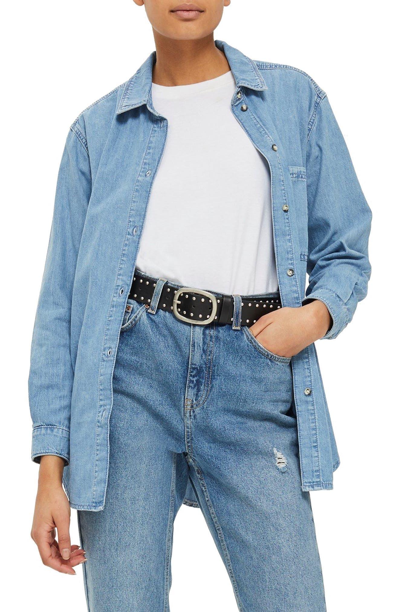 Drake Oversize Denim Shirt,                         Main,                         color, Mid Stone