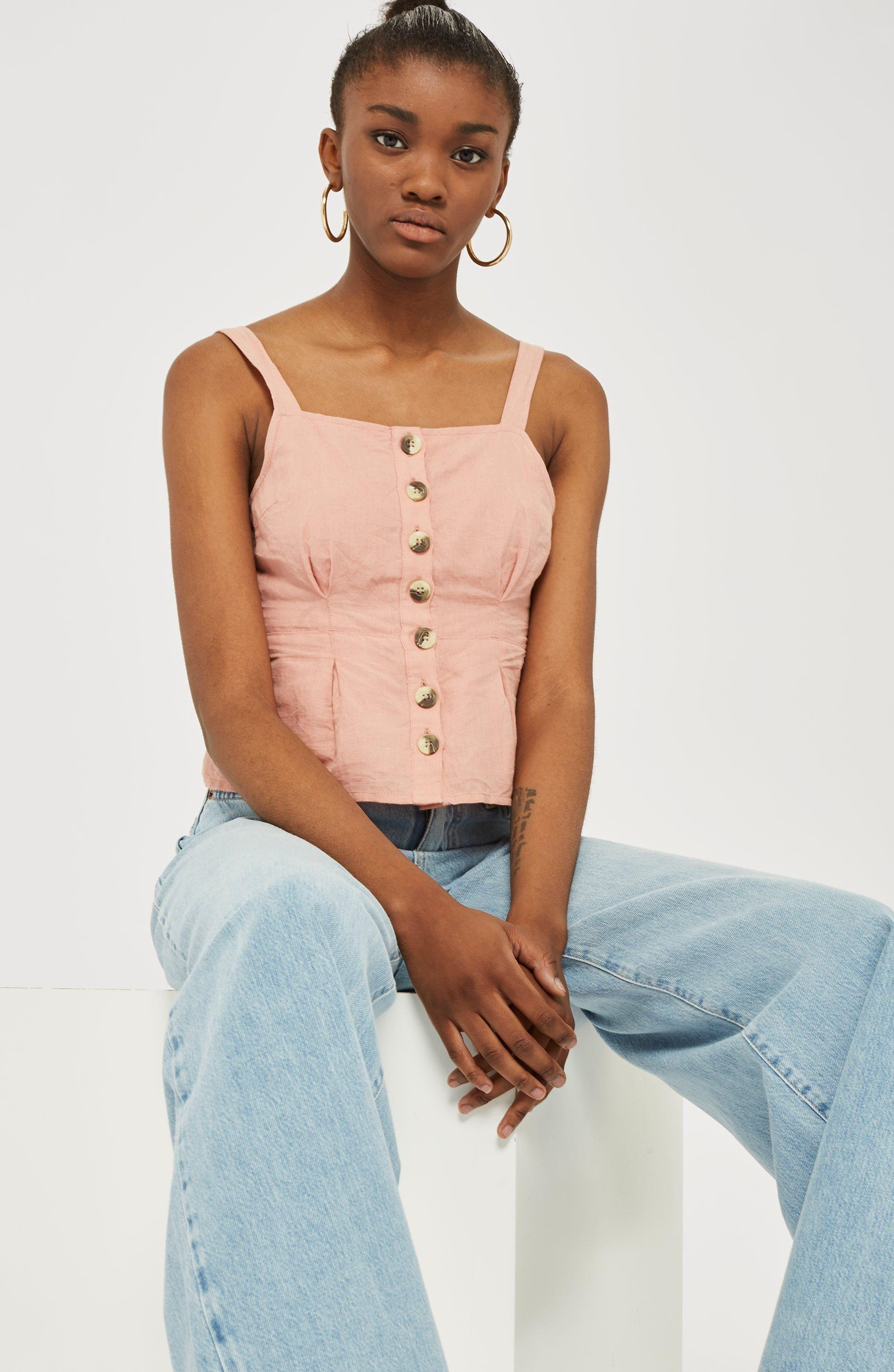 Structured Button Camisole Top,                             Alternate thumbnail 2, color,                             Dusty Pink