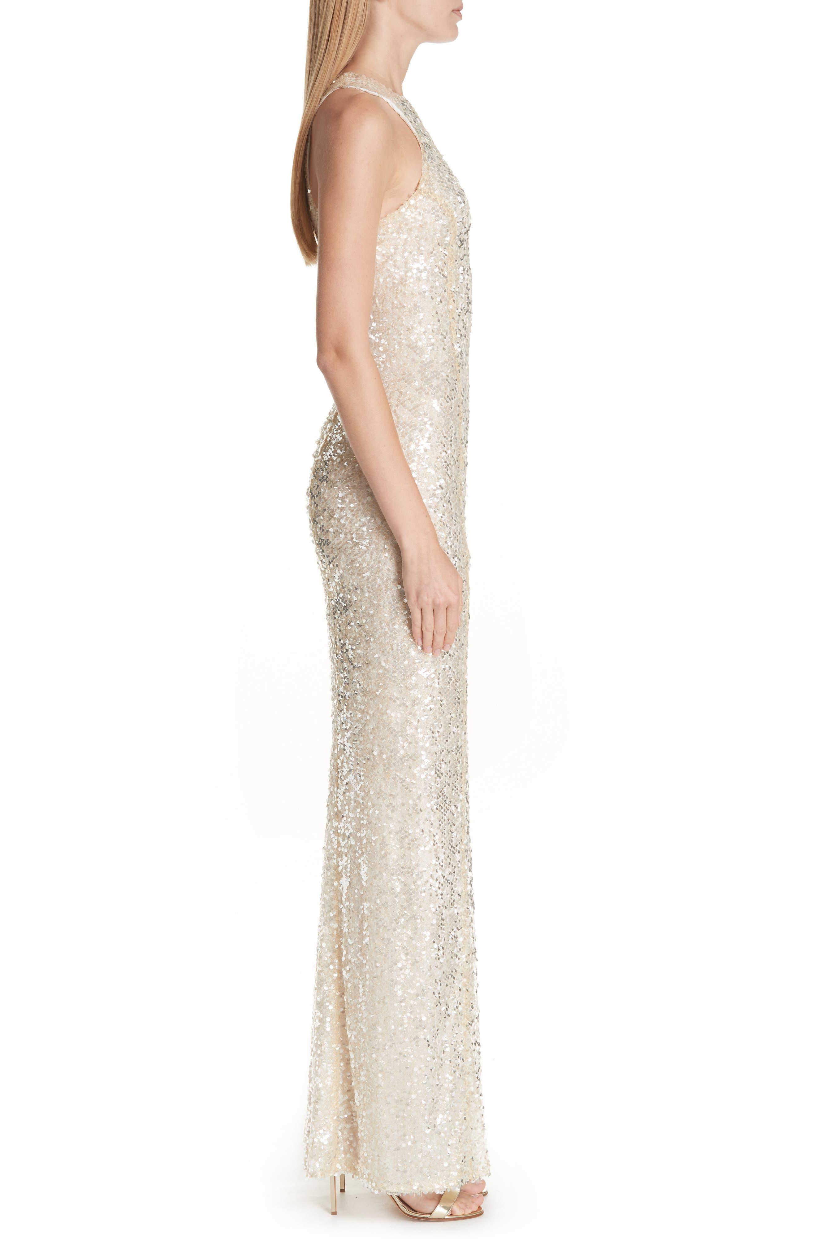 Sequin Racerback Gown,                             Alternate thumbnail 3, color,                             Gold