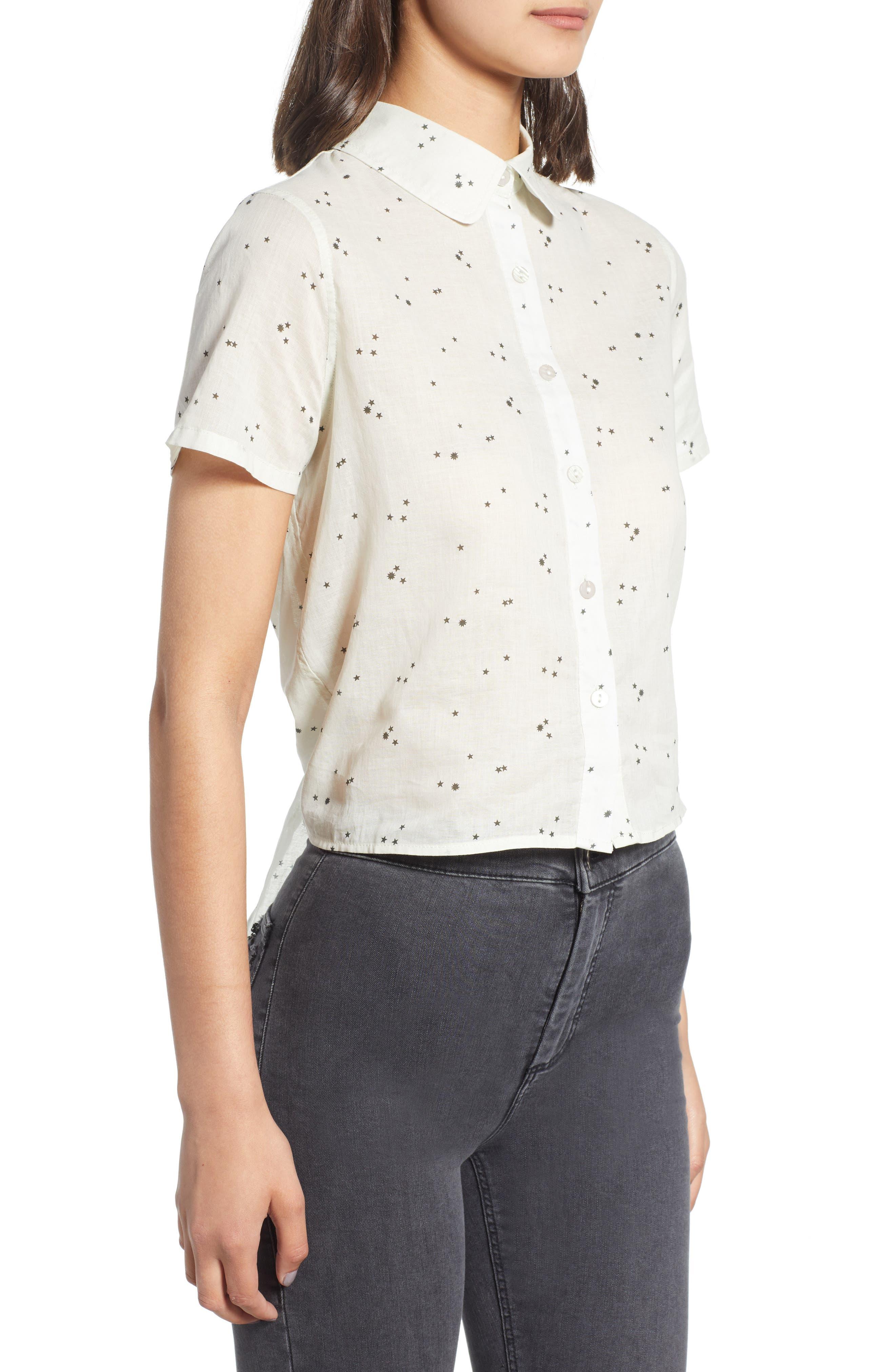 Tie Back Camp Shirt,                             Alternate thumbnail 3, color,                             White Star Print