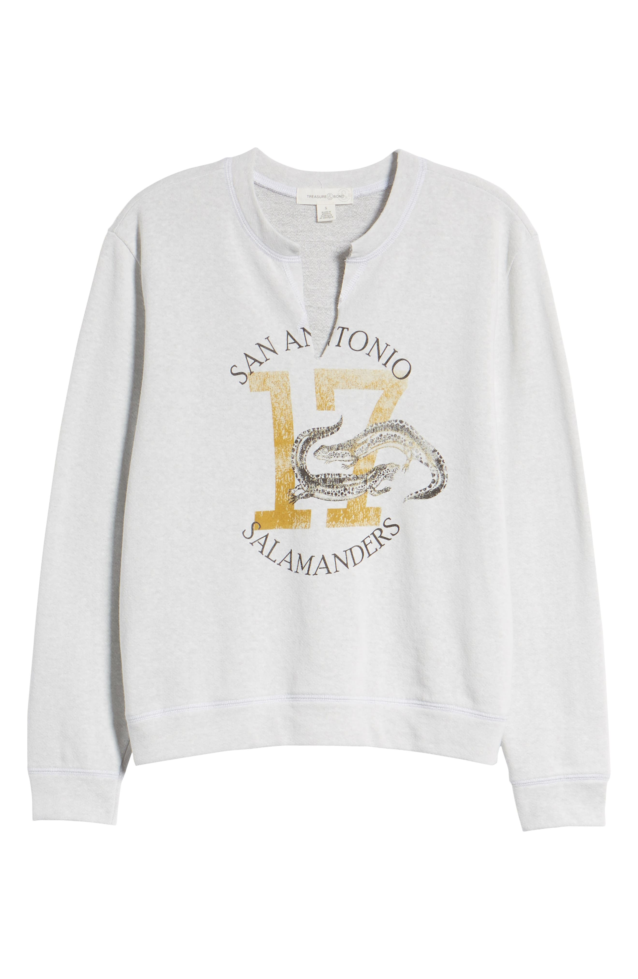 Split Neck Graphic Sweatshirt,                             Alternate thumbnail 7, color,                             White Salamanders