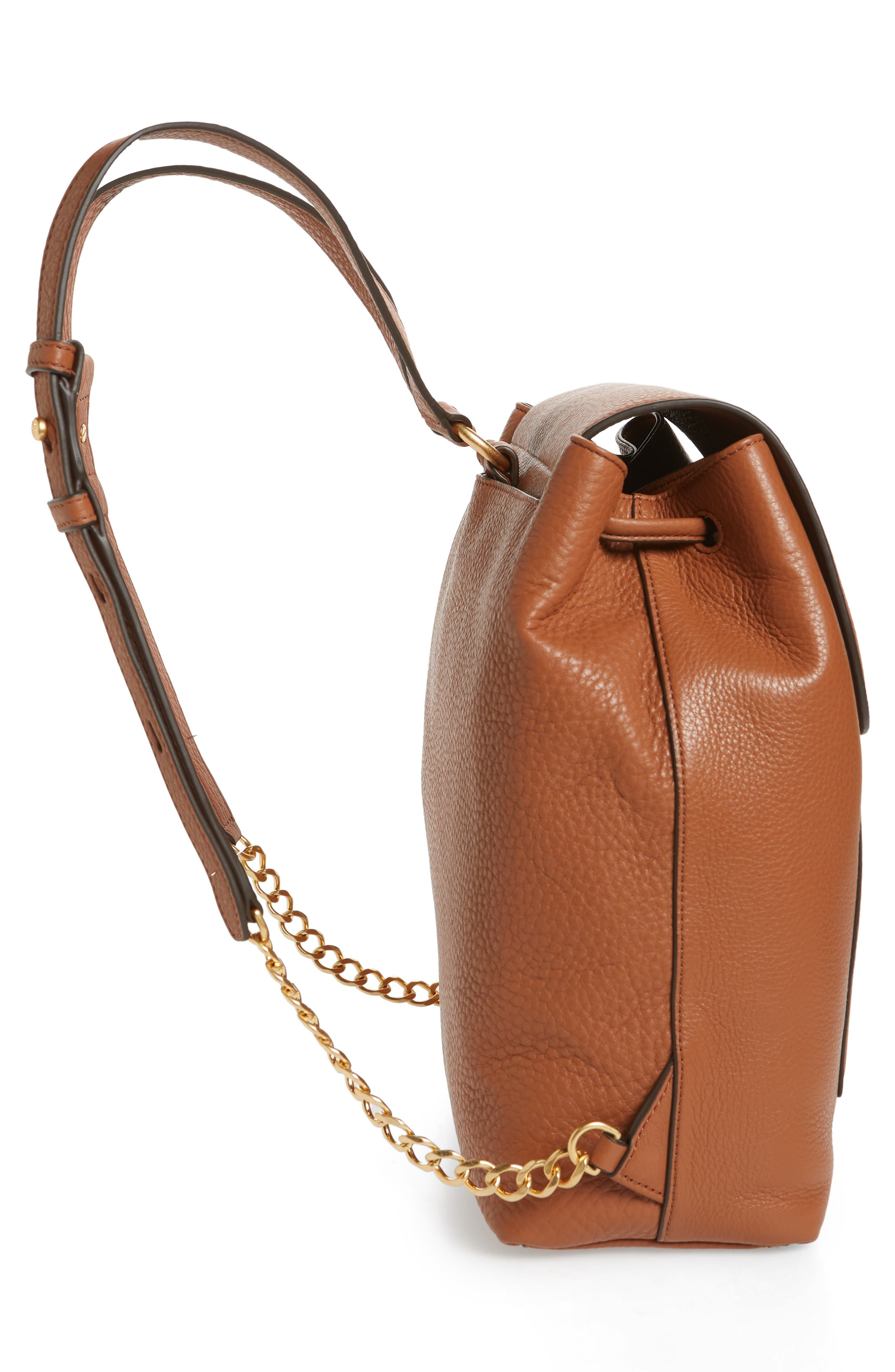 Chelsea Leather Backpack,                             Alternate thumbnail 5, color,                             Classic Tan