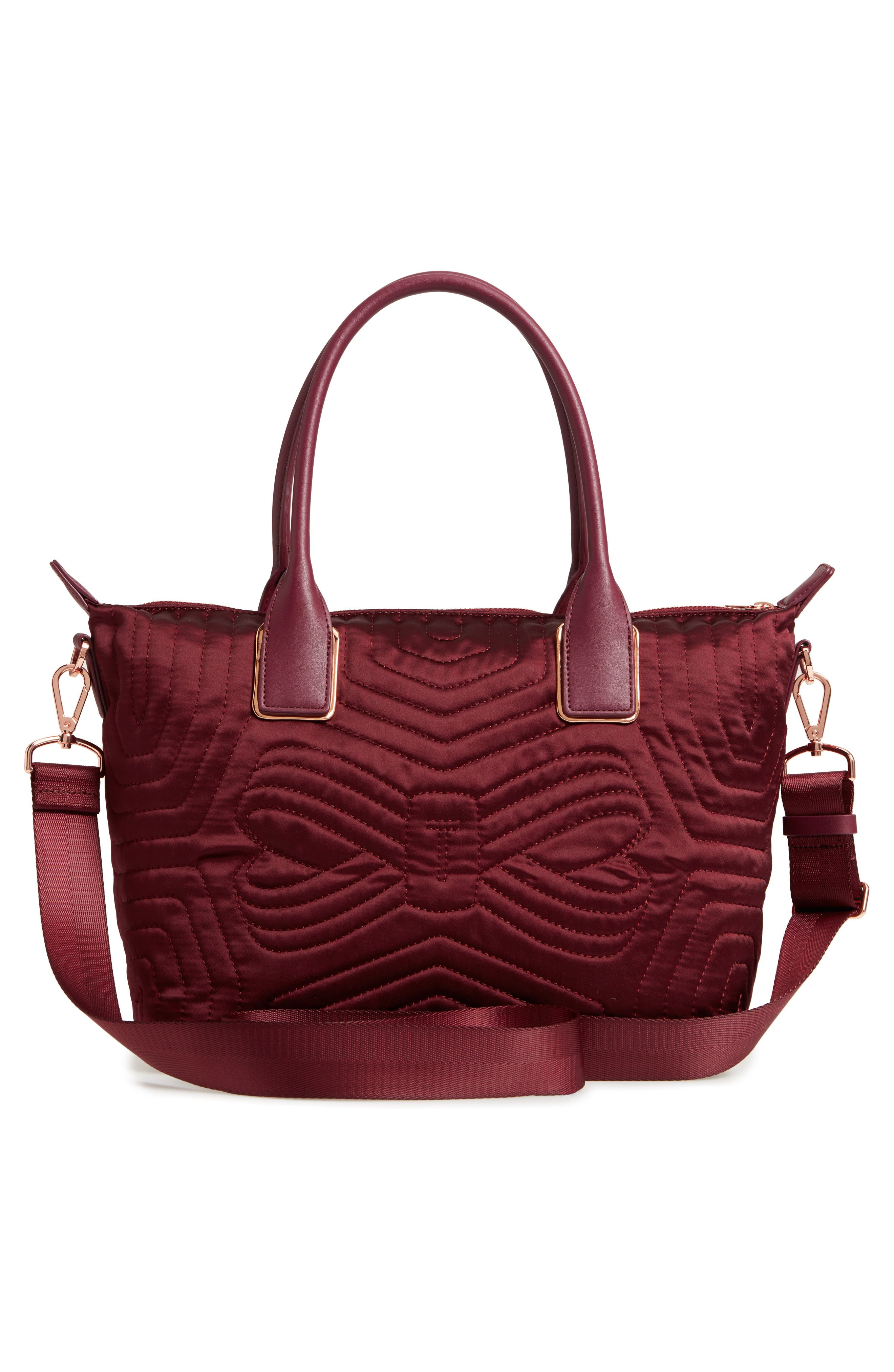 Akebia Quilted Bow Small Nylon Tote,                             Alternate thumbnail 3, color,                             Maroon