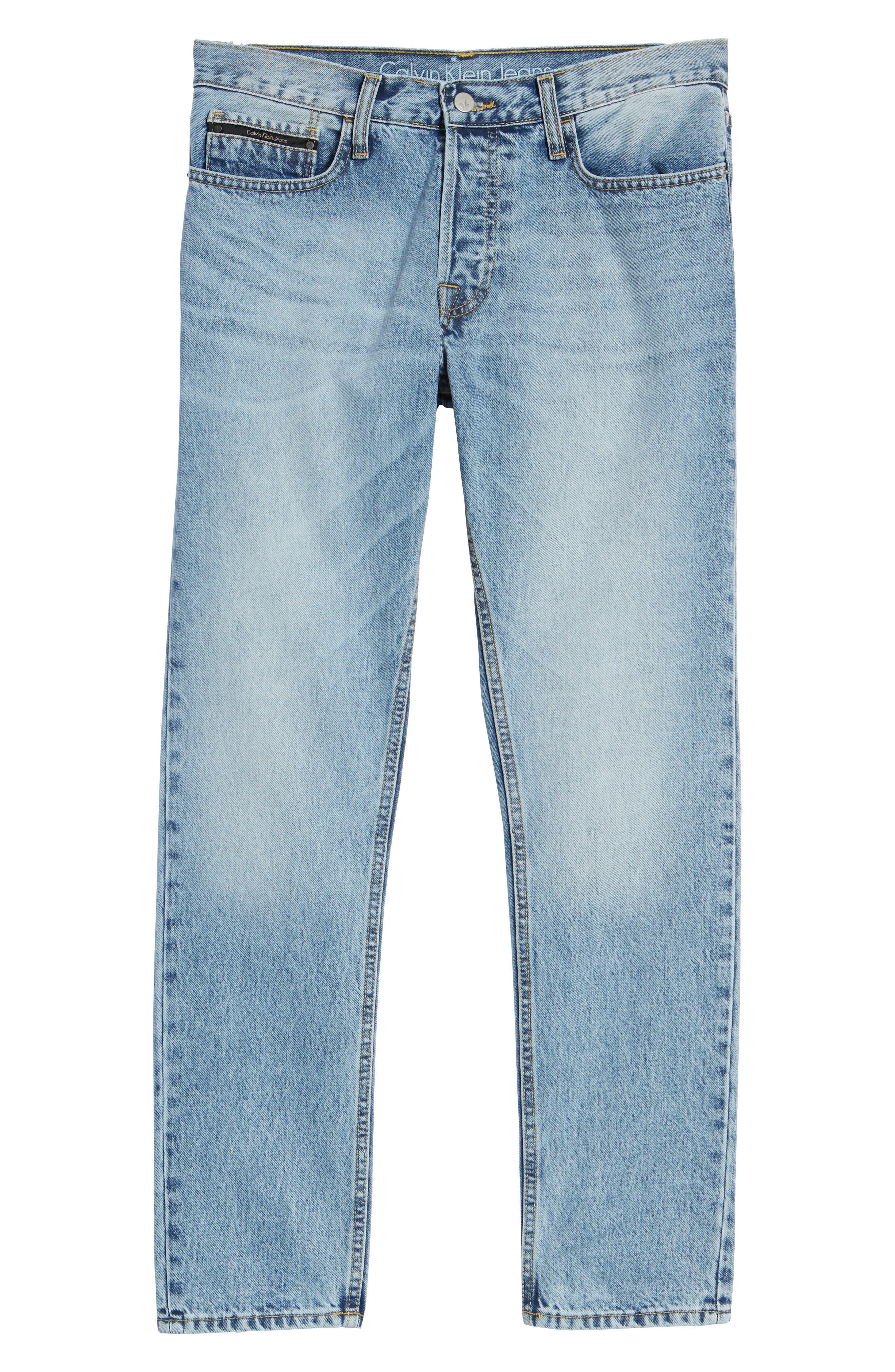 Straight Tapered Leg Jeans,                             Alternate thumbnail 6, color,                             Jalapeno Blue