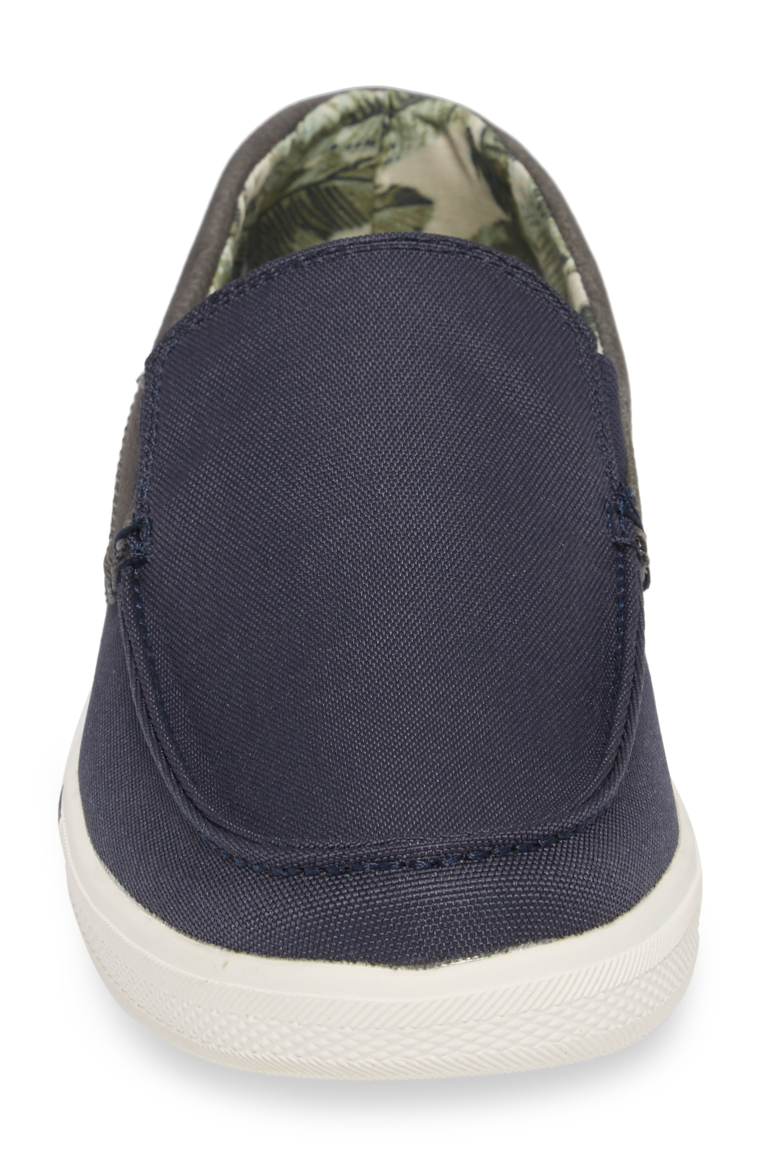 Calderon Loafer,                             Alternate thumbnail 4, color,                             Navy Canvas/ Leather