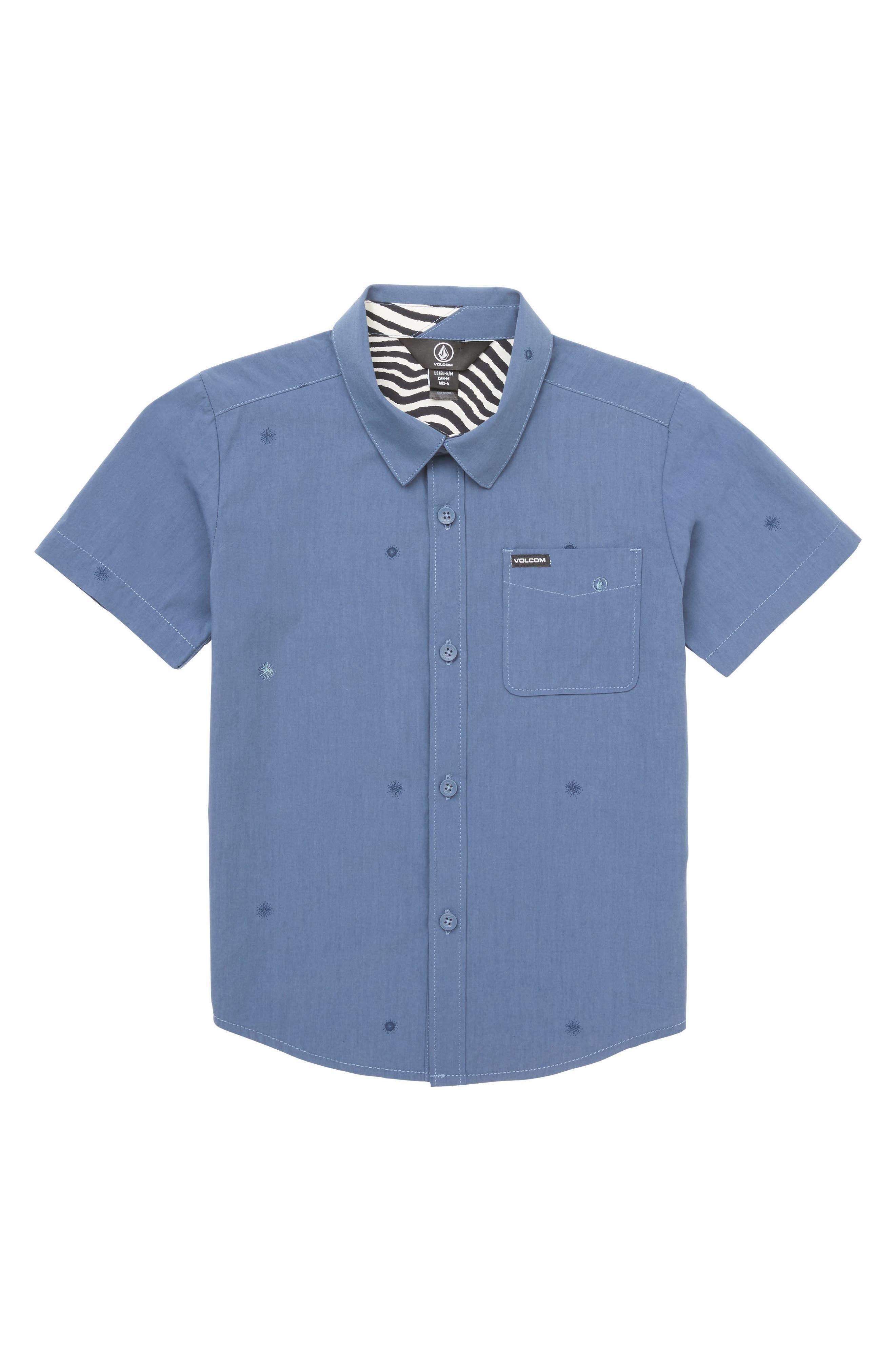 Bleeker Print Woven Shirt,                         Main,                         color, Deep Blue