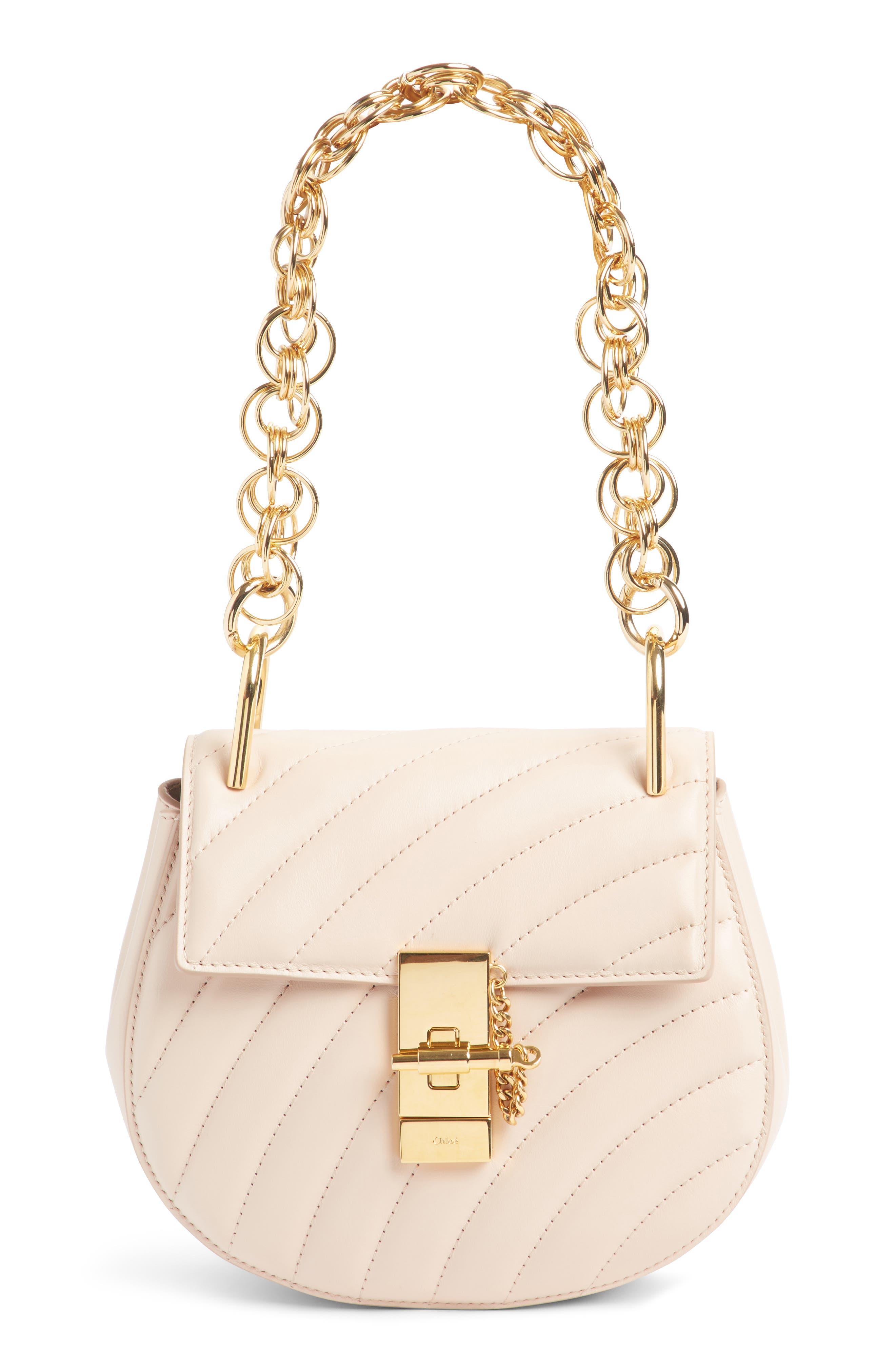 Mini Drew Bijoux Leather Shoulder Bag,                             Main thumbnail 1, color,                             Cement Pink