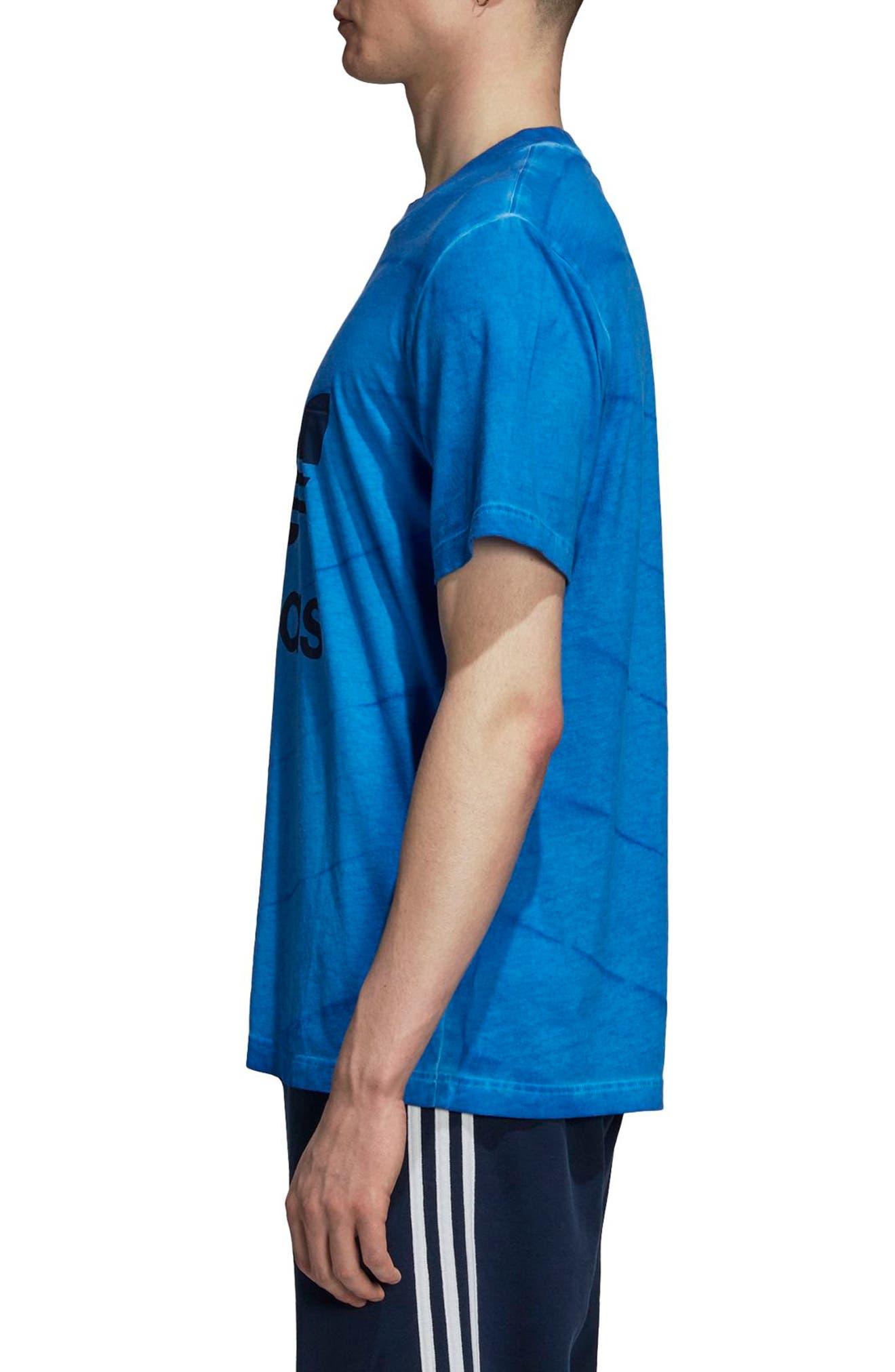 adidas Tie Dye T-Shirt,                             Alternate thumbnail 3, color,                             Bluebird