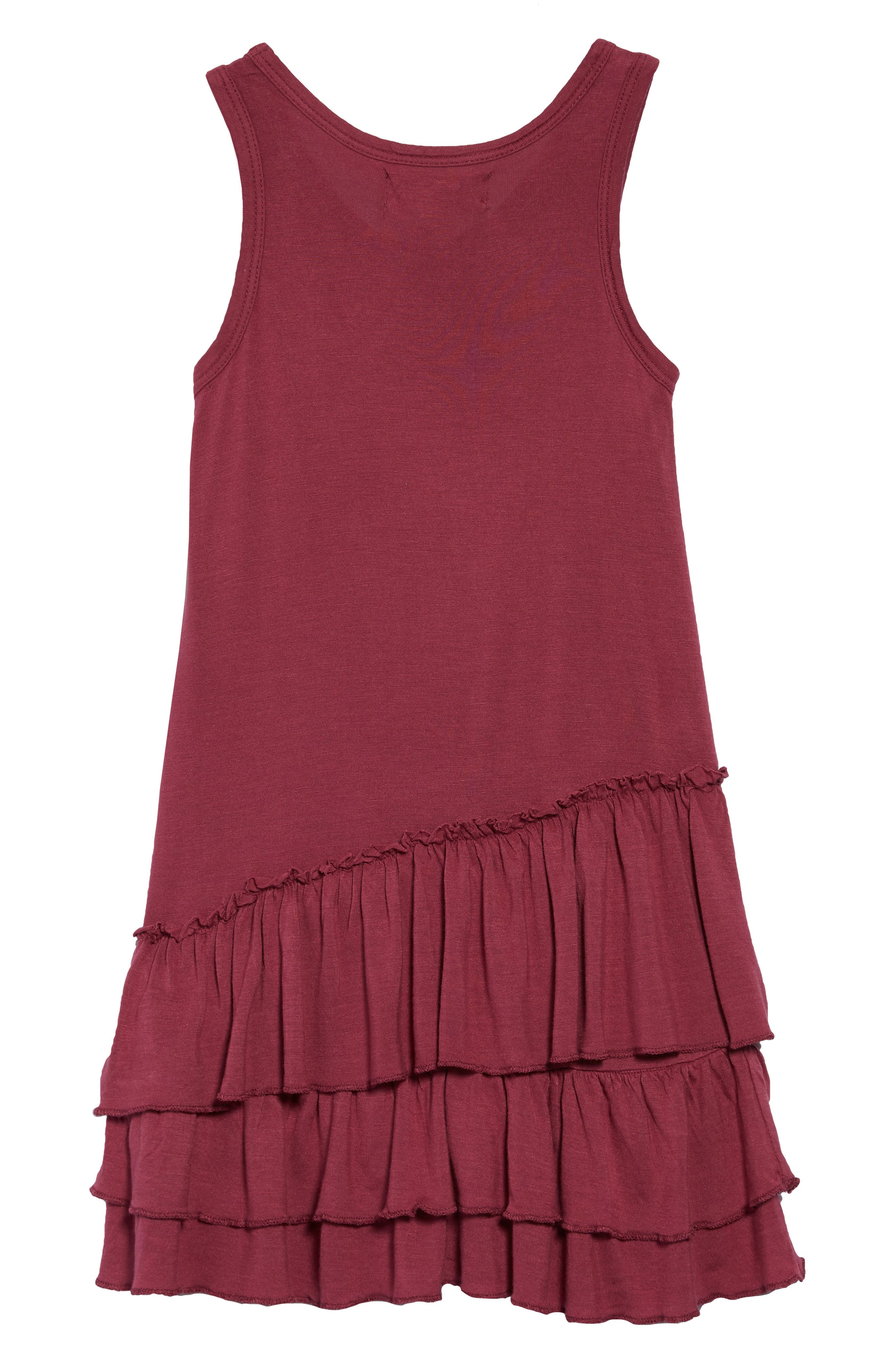 Tiered Tank Dress,                             Alternate thumbnail 2, color,                             Maroon