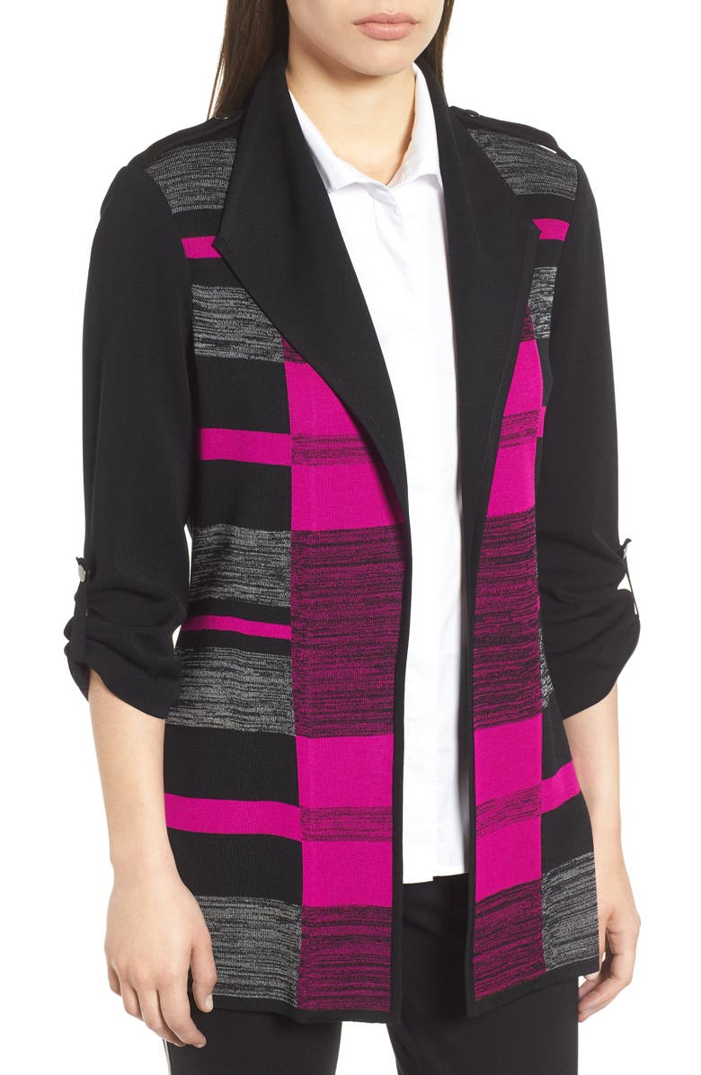 Colorblock Roll-Tab Sleeve Knit Jacket