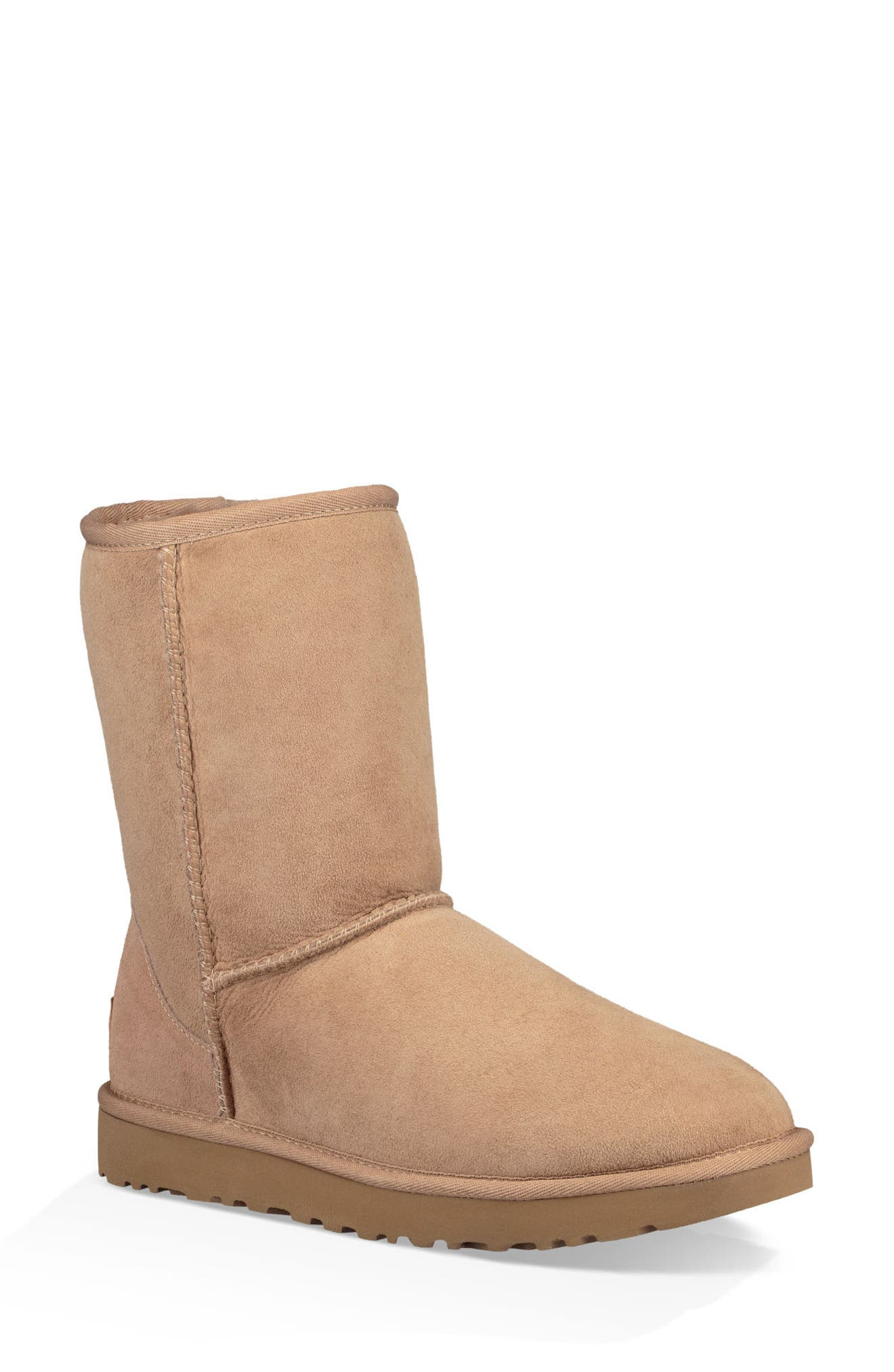 'Classic II' Genuine Shearling Lined Short Boot,                             Main thumbnail 1, color,                             Fawn Suede