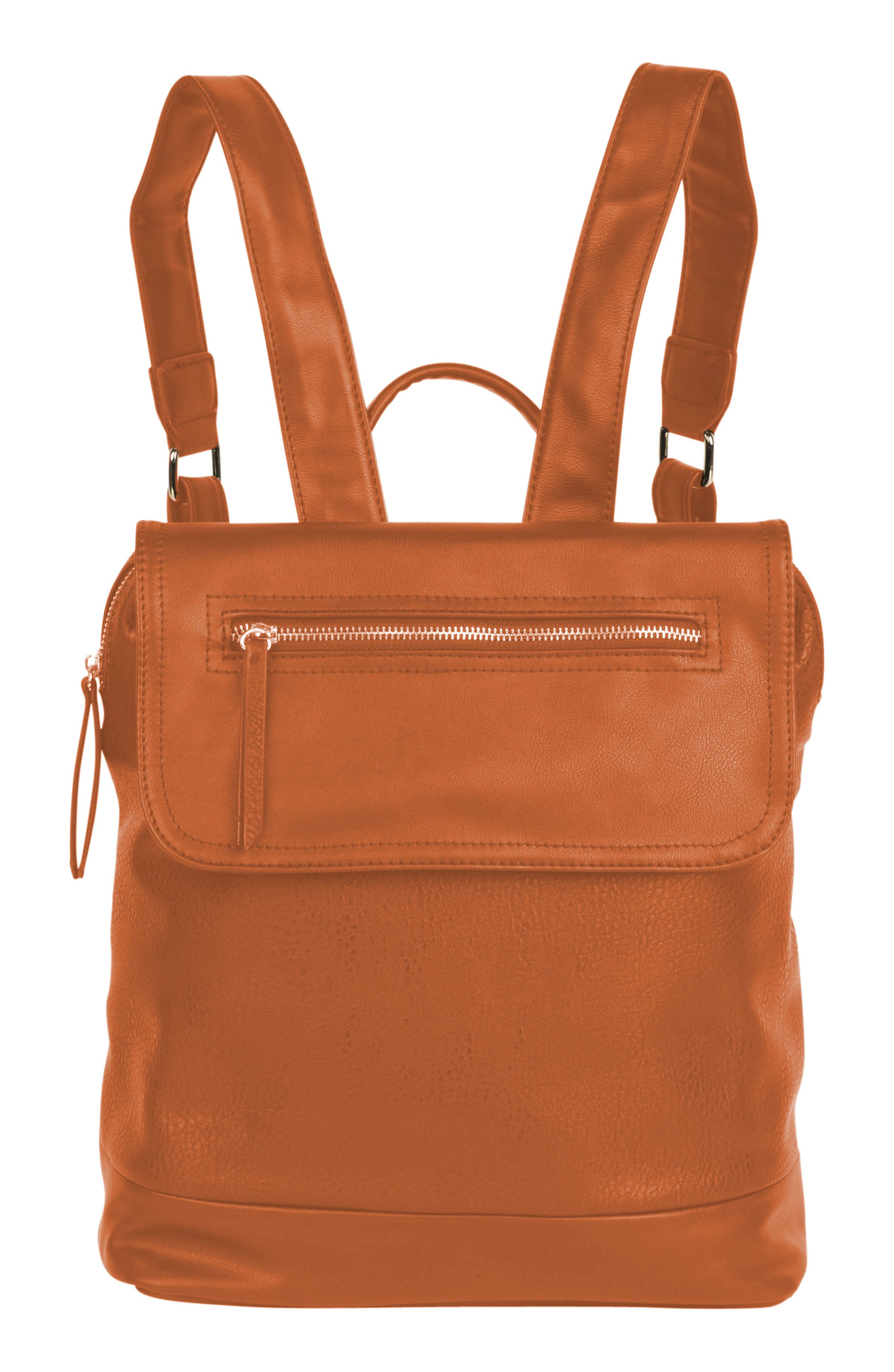 LOVESOME VEGAN LEATHER BACKPACK - BROWN