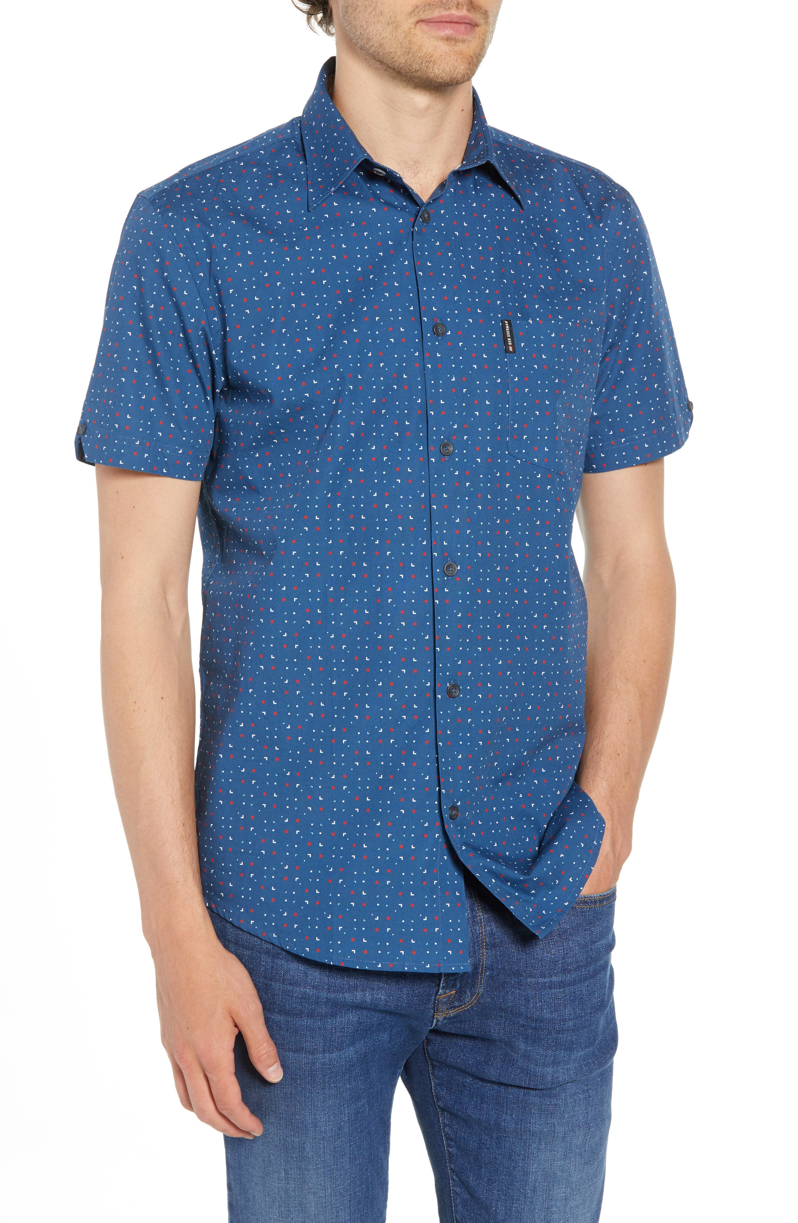 Scattered Geo Woven Shirt,                             Main thumbnail 1, color,                             Blue