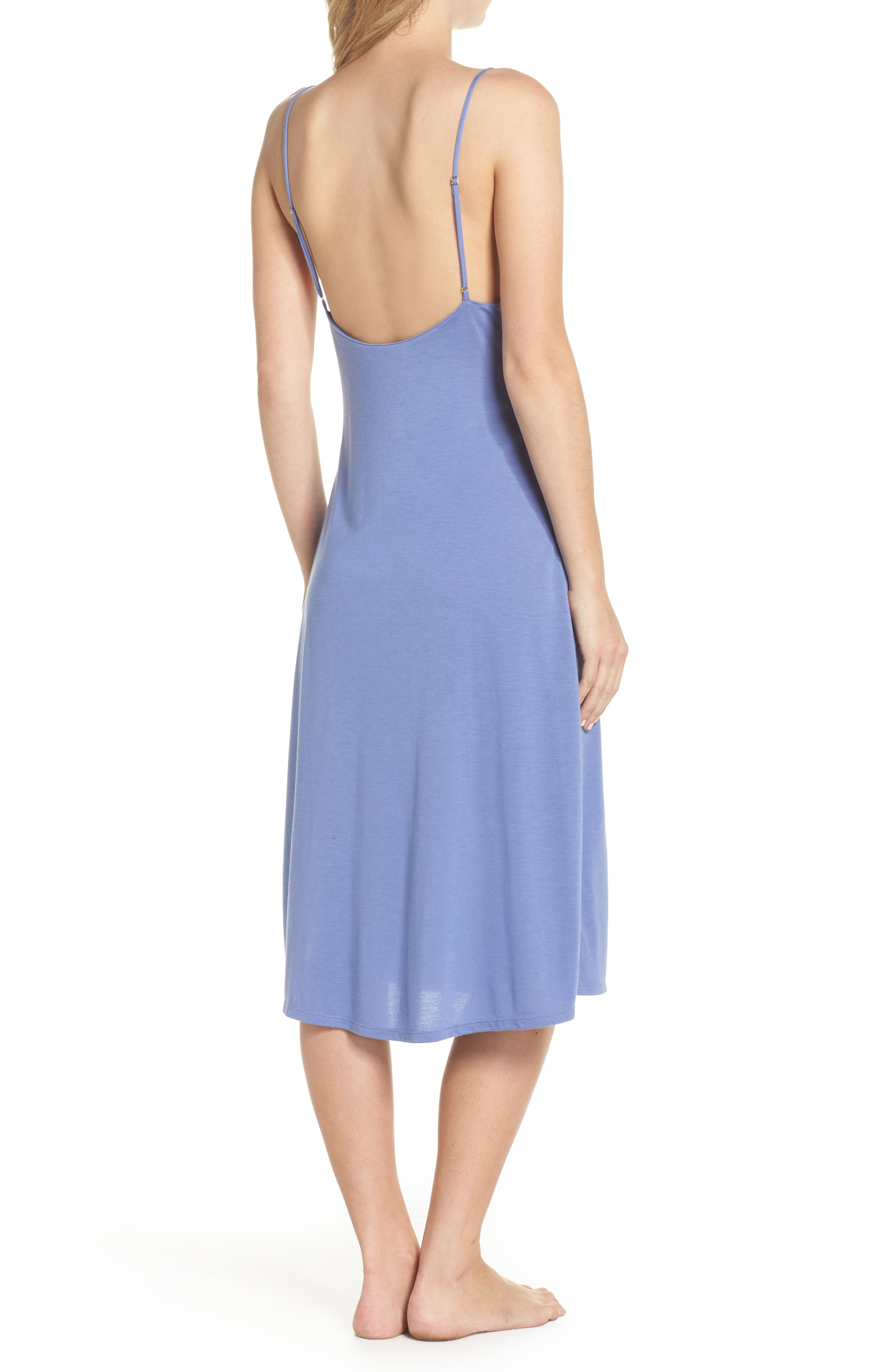 Luxe Shangri-La Nightgown,                             Alternate thumbnail 2, color,                             Wedgewood