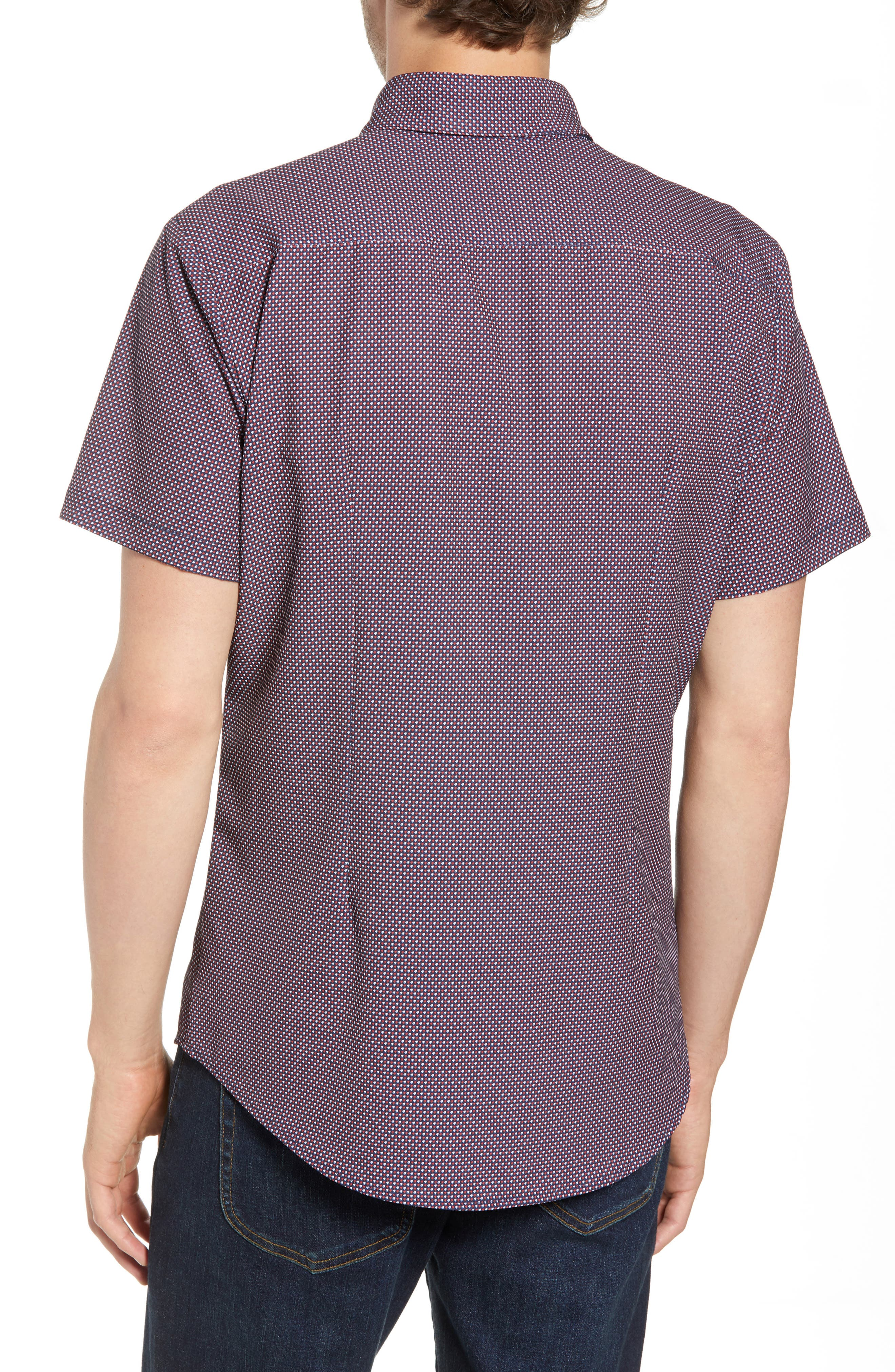 Gibson Slim Fit Dot Performance Sport Shirt,                             Alternate thumbnail 4, color,                             Red