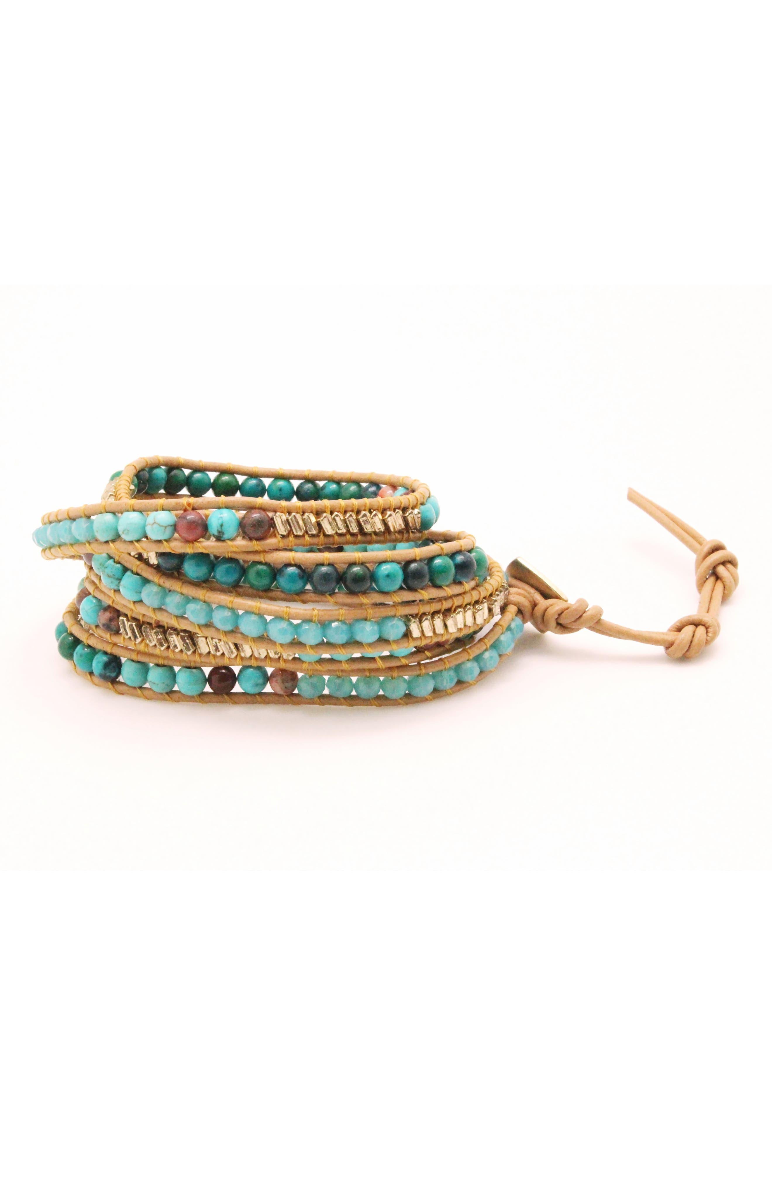 Beaded Stone & Metal Wrap Bracelet,                             Main thumbnail 1, color,                             Blue/ Multi
