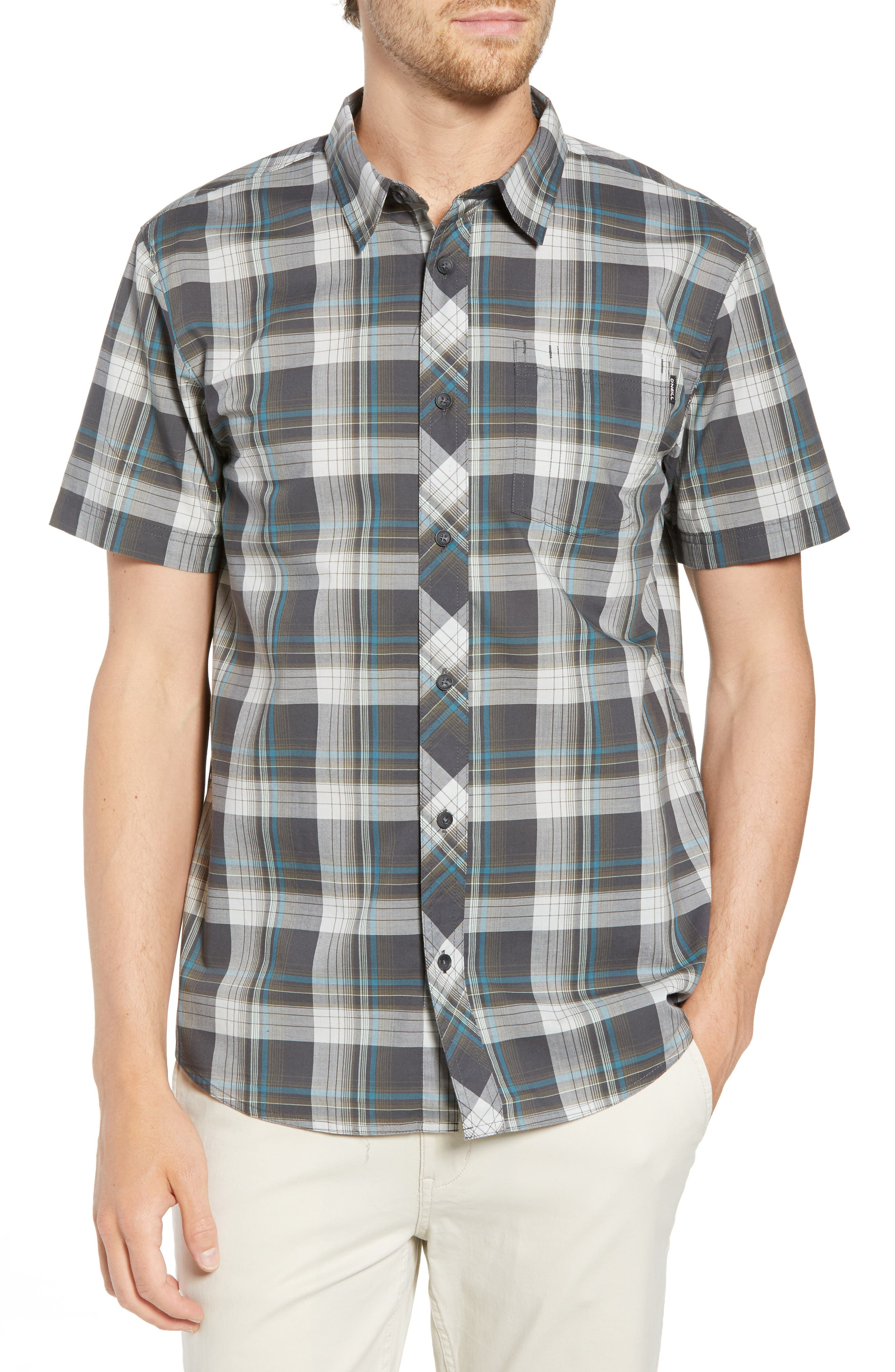 Gentry Short Sleeve Shirt,                         Main,                         color, Asphalt