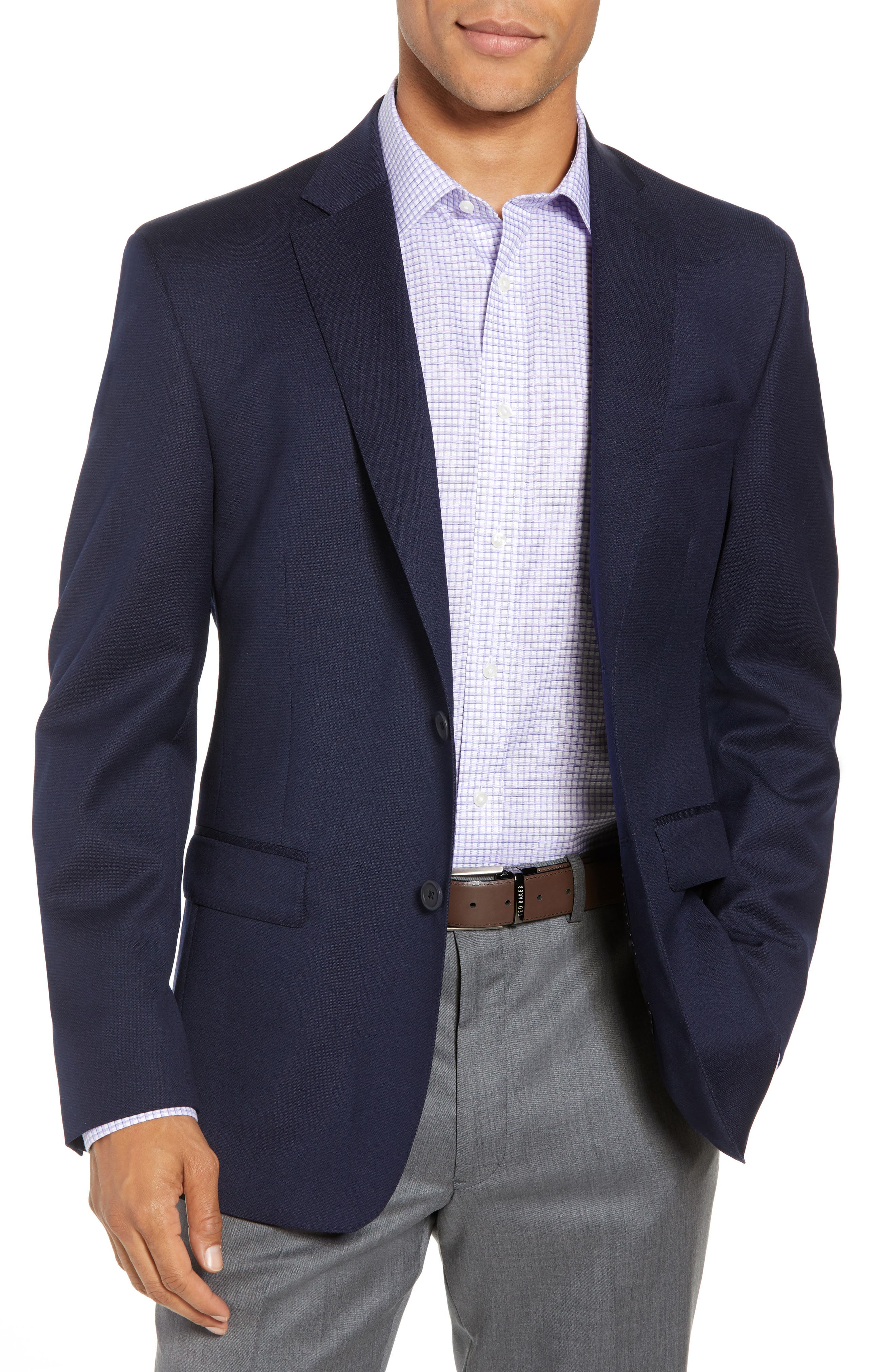 Traditional Fit Wool Blazer,                         Main,                         color, Navy