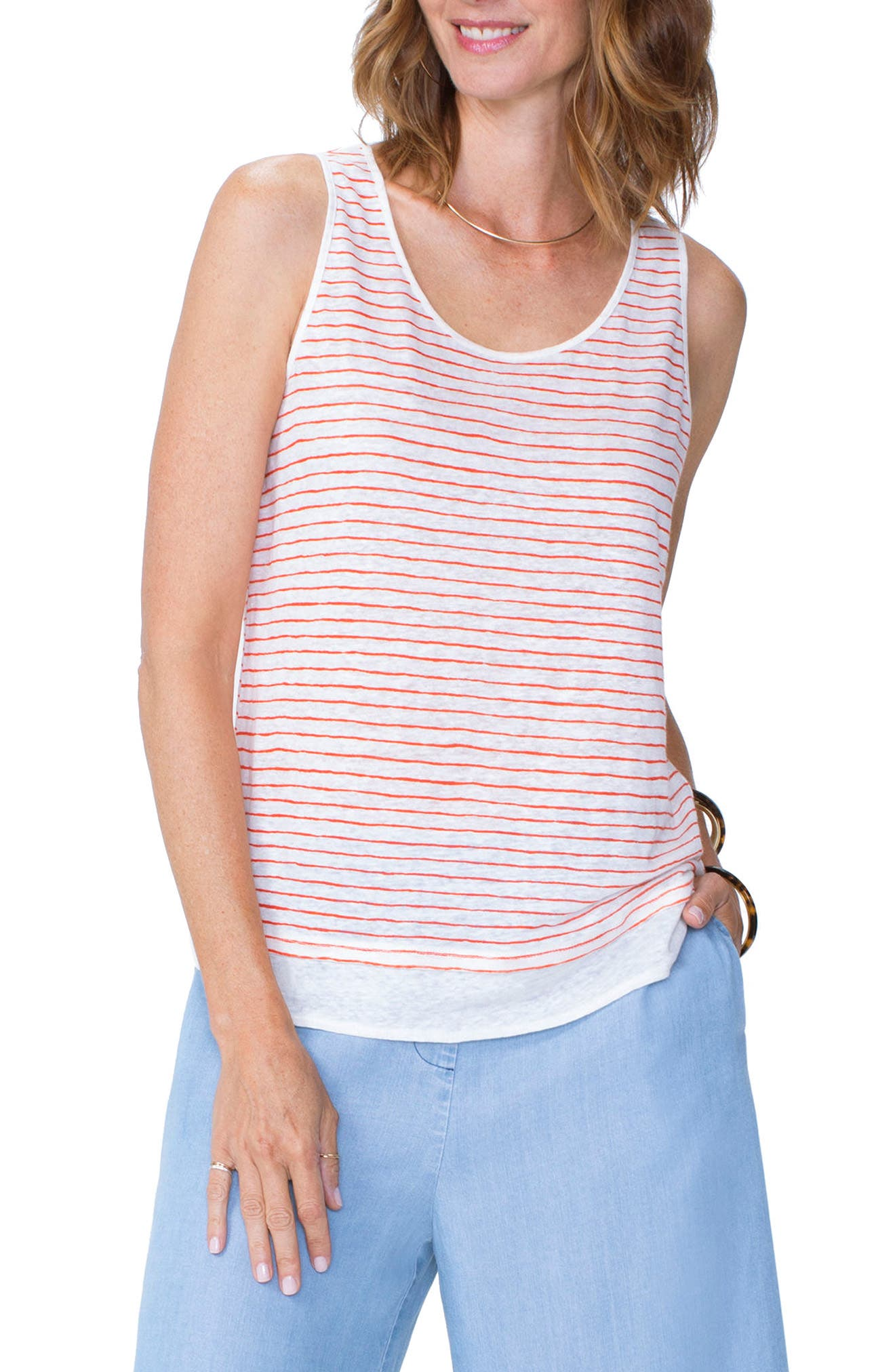 Stripe Contrast Hem Tank Linen Top,                             Main thumbnail 1, color,                             Paint Stripe Blaze