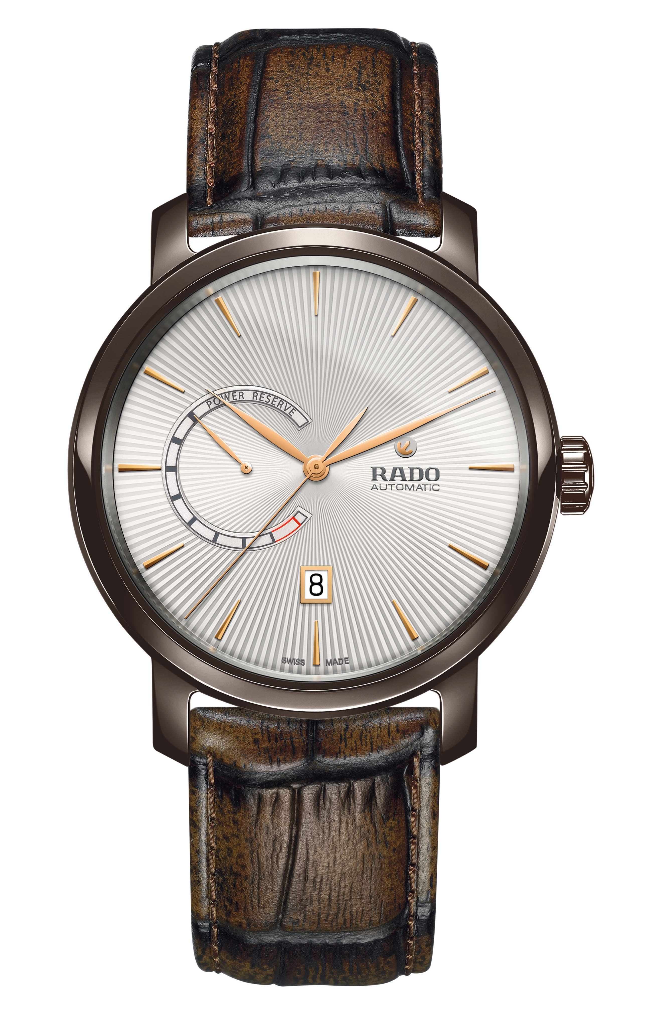 DiaMaster Automatic Leather Strap Watch, 43mm,                         Main,                         color, Brown/ Silver