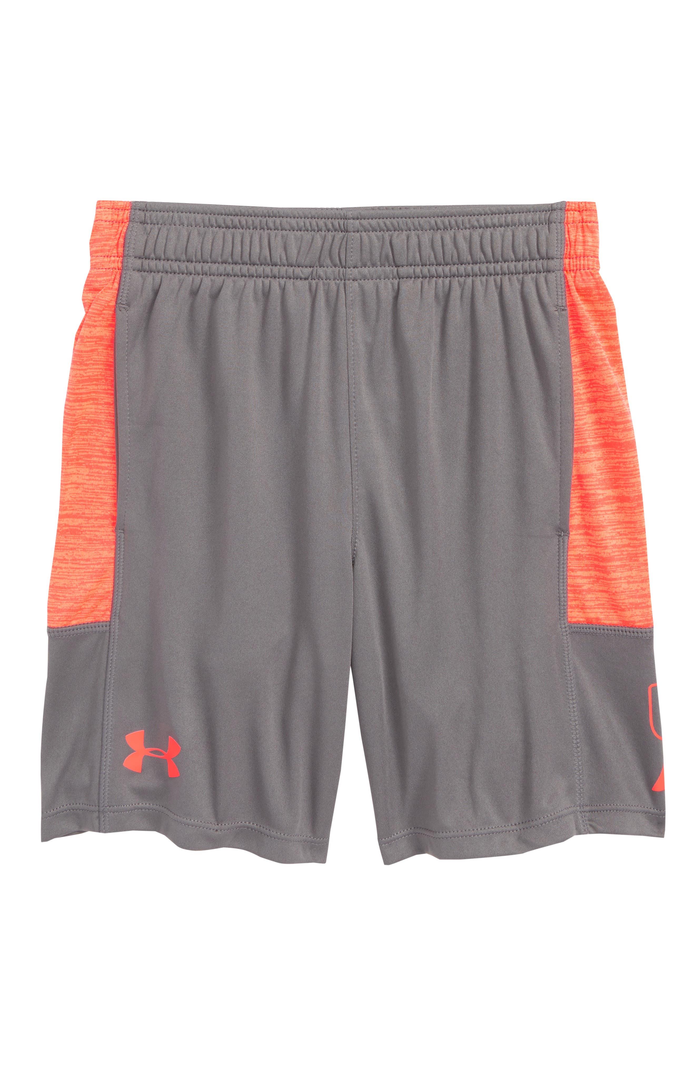 Twist Stunt HeatGear<sup>®</sup> Shorts,                             Main thumbnail 1, color,                             Graphite/ Neon Coral