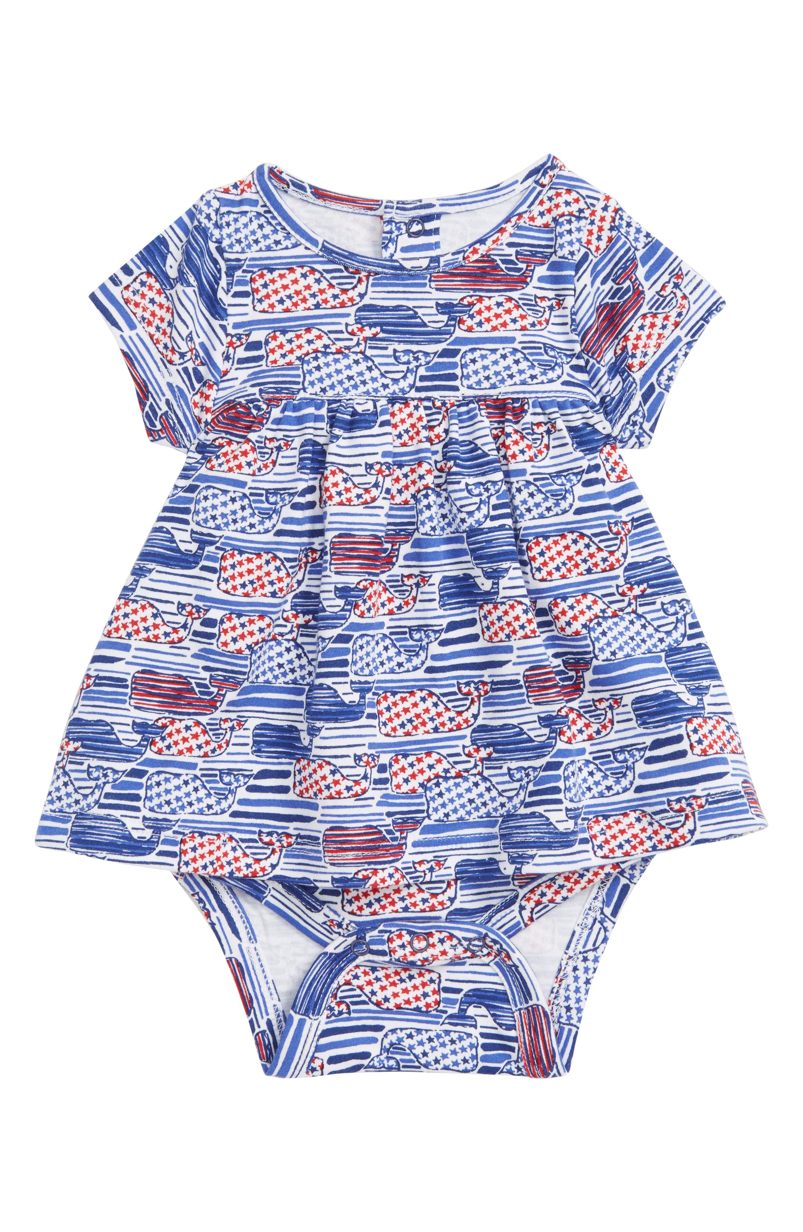Stars & Stripes Whale Skirted Bodysuit,                             Main thumbnail 1, color,                             White Cap