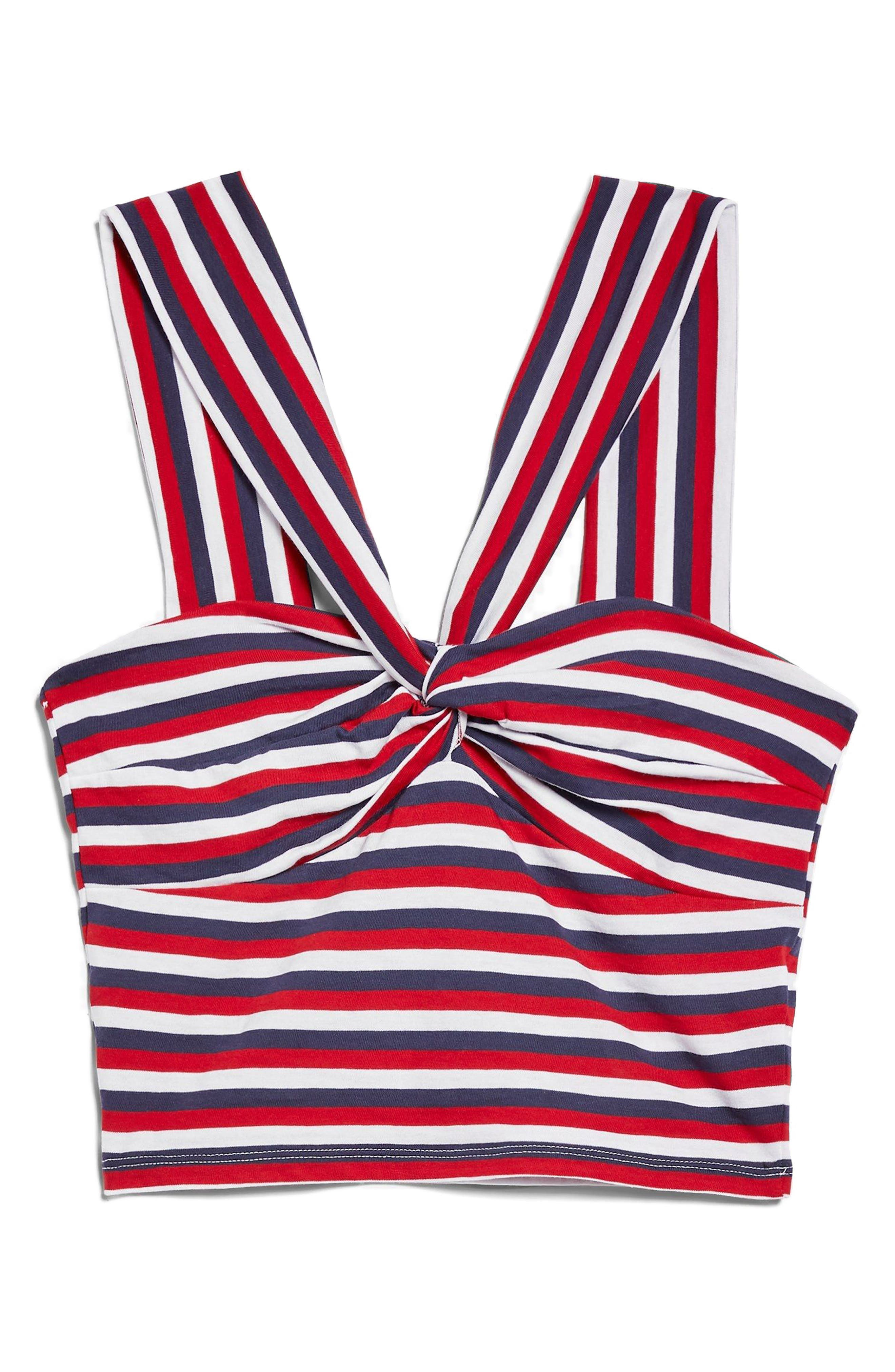 Stripe Knot Crop Top,                             Alternate thumbnail 4, color,                             Red Multi