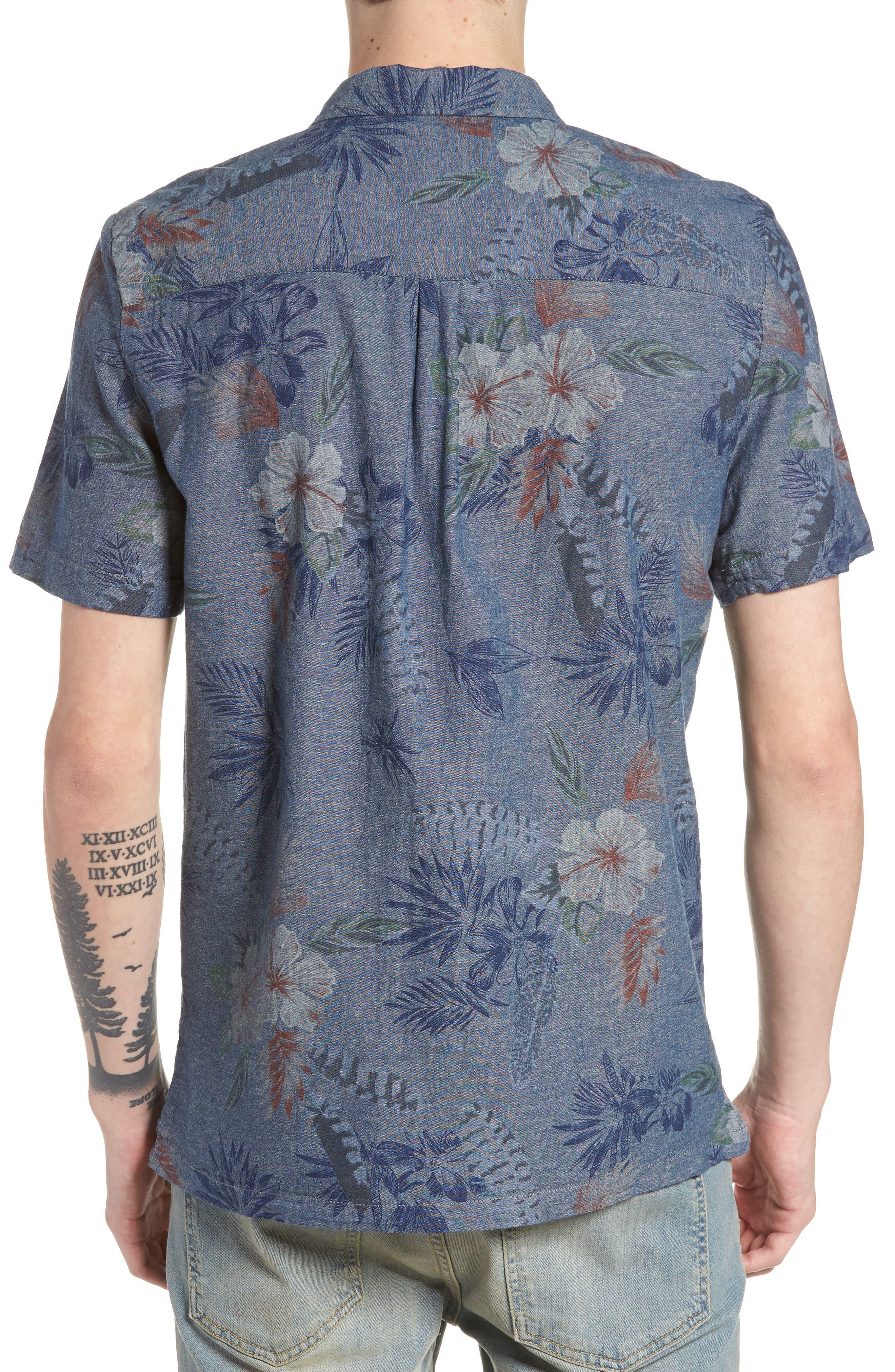 Floral Sketch Short Sleeve Sport Shirt,                             Alternate thumbnail 3, color,                             Indigo