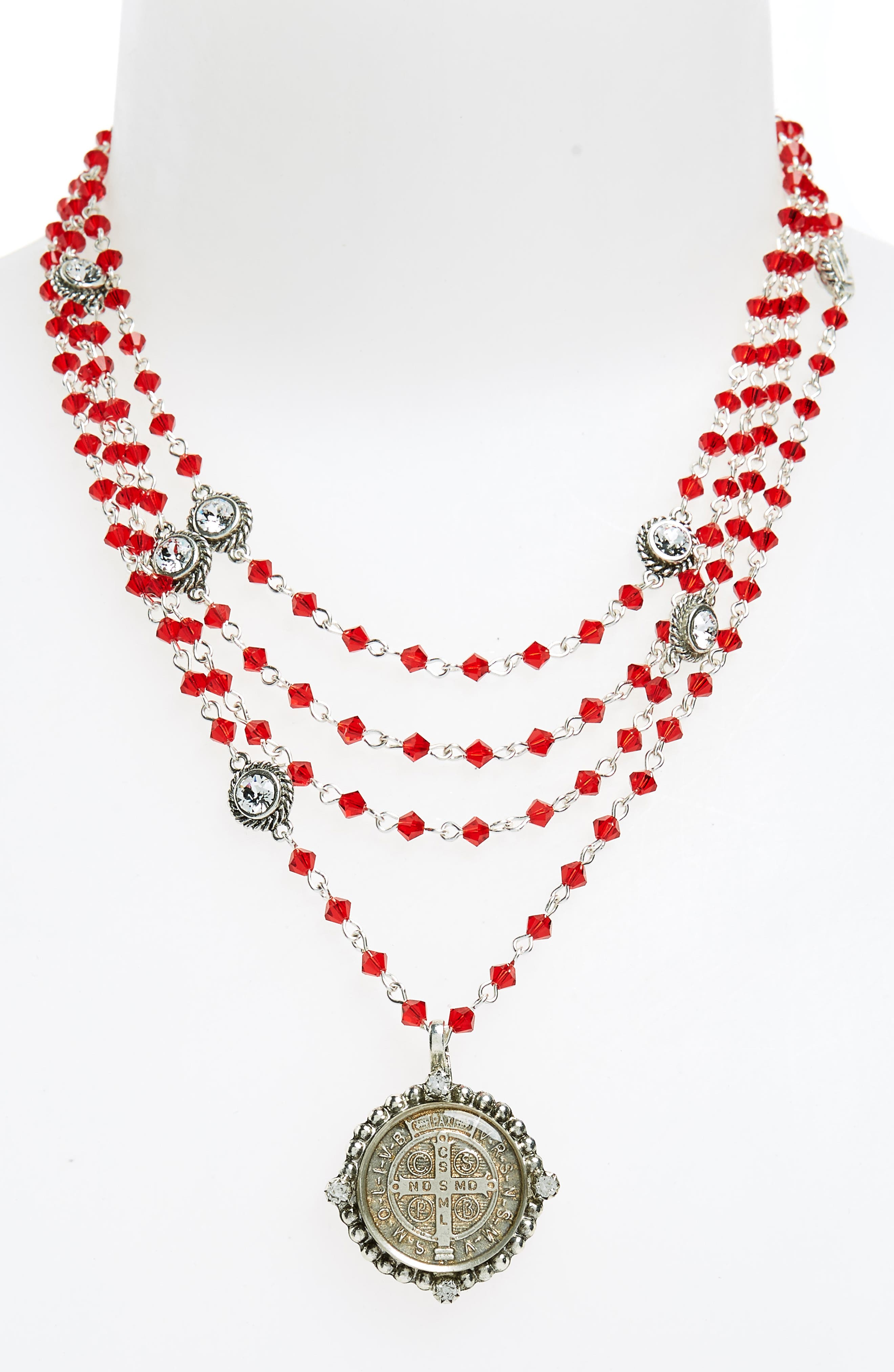 Bicone Magdalena Necklace,                             Alternate thumbnail 2, color,                             Scarlet W/ Clear Accent
