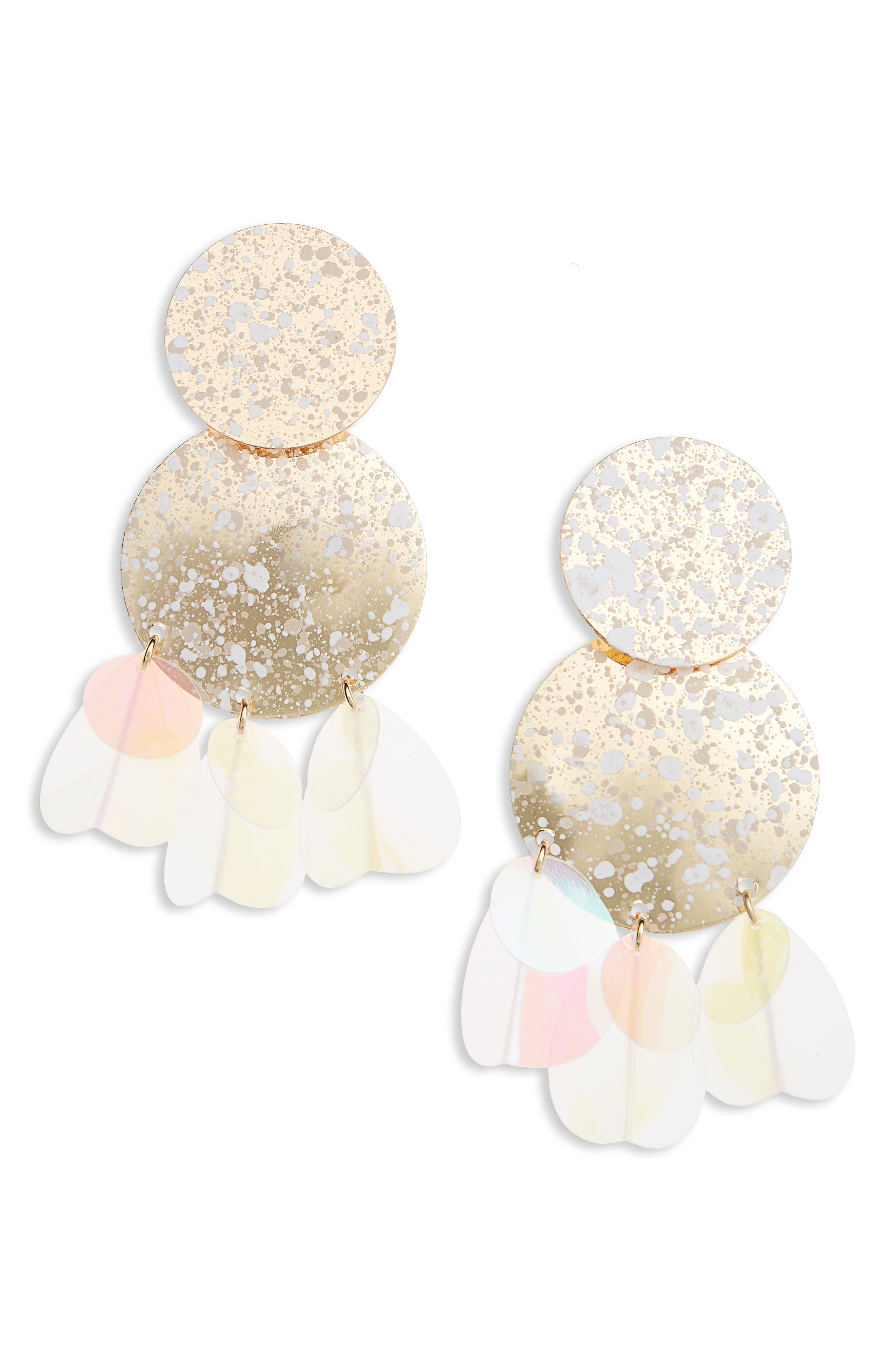 Disc Statement Earrings,                         Main,                         color, Multi
