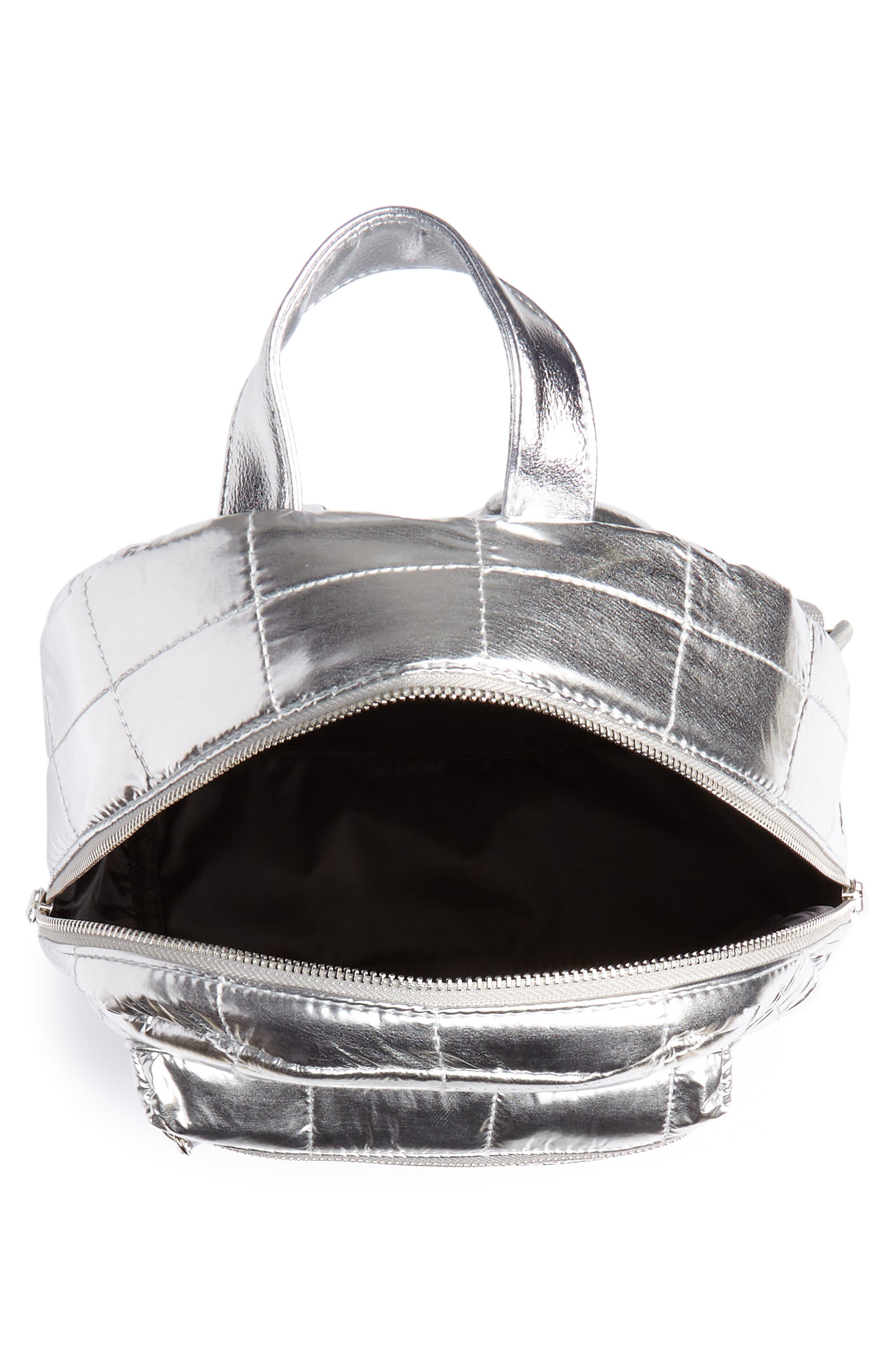 Mini Metallic Puffer Backpack,                             Alternate thumbnail 5, color,                             Silver