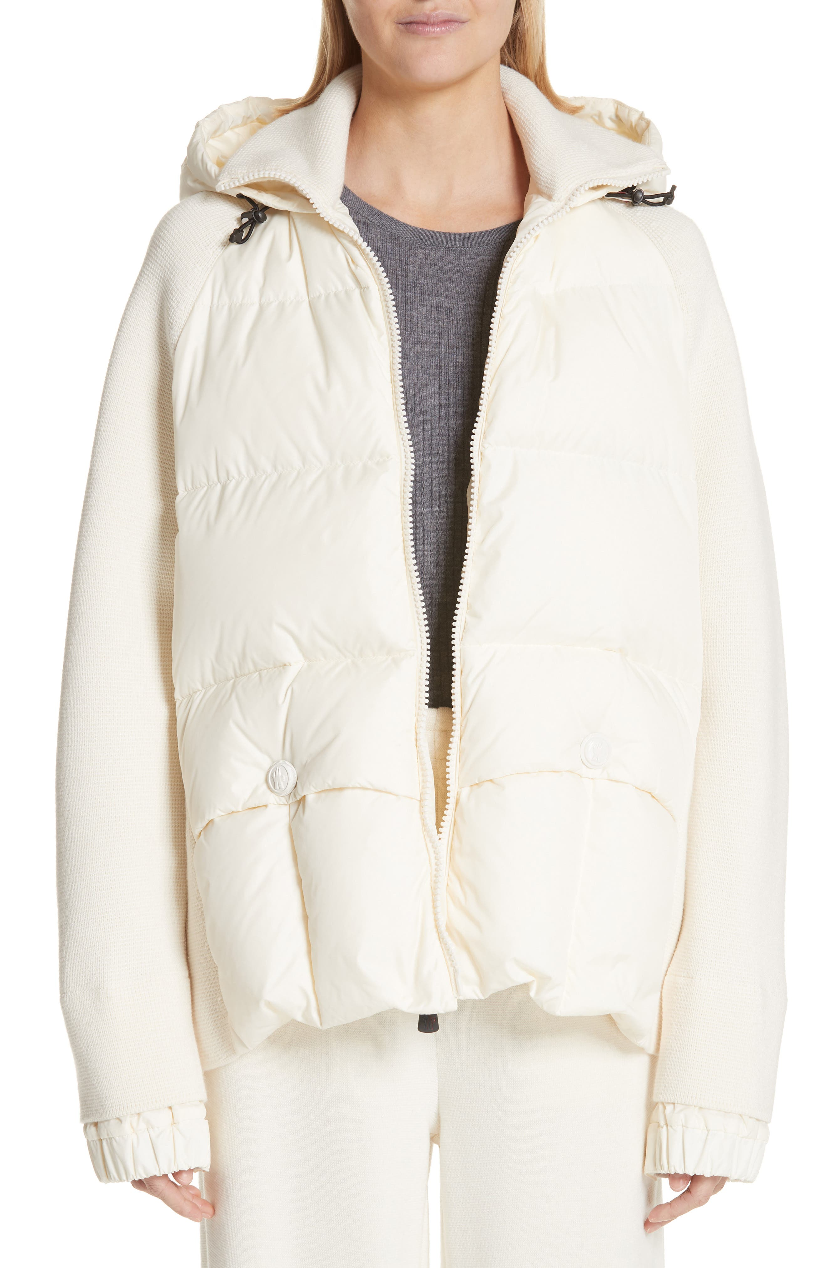 Moncler Spa Quilted Down & Knit Hooded Jacket