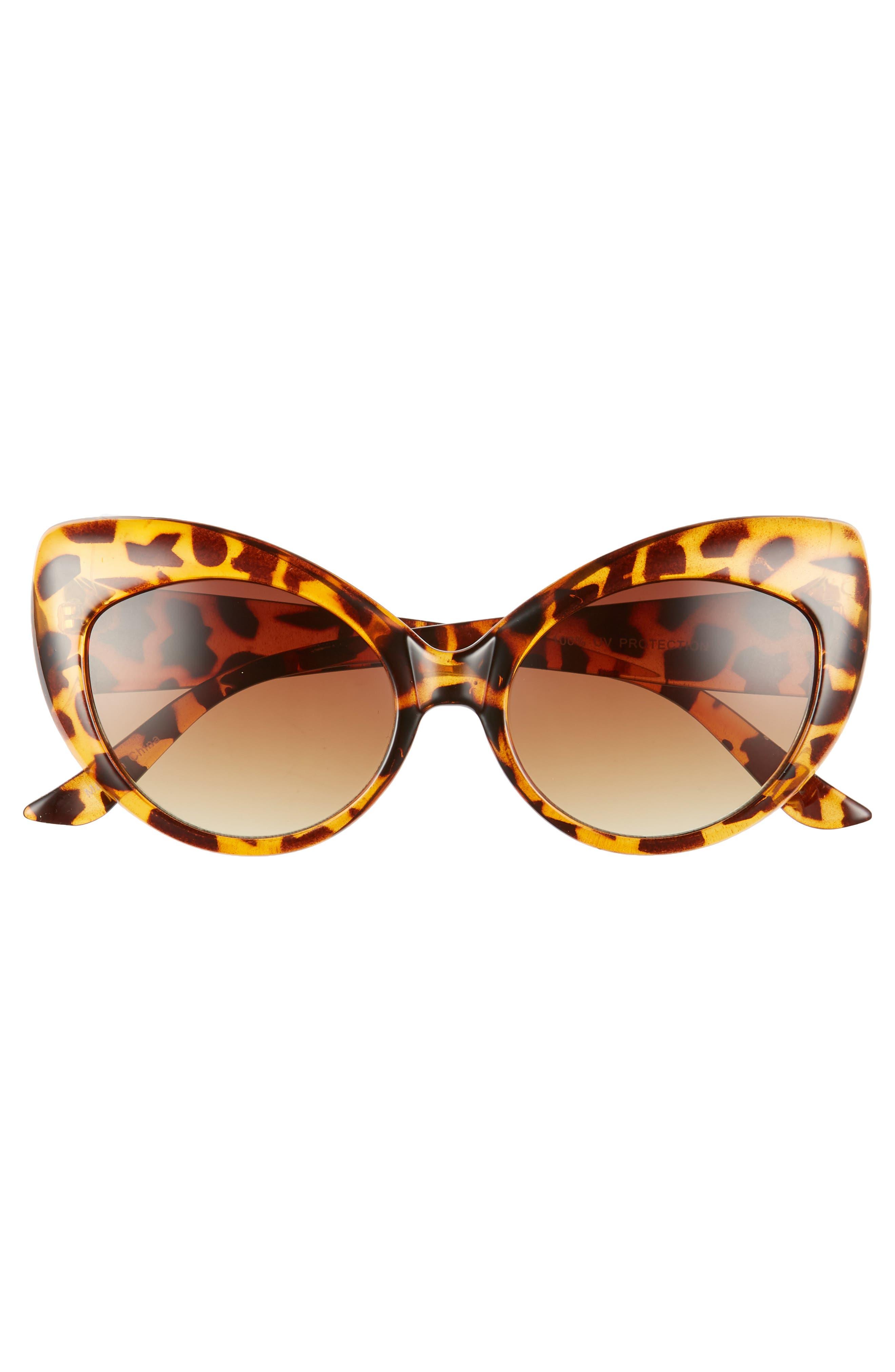 57mm Cheetah Pattern Cat Eye Sunglasses,                             Alternate thumbnail 3, color,                             Tort/ Brown