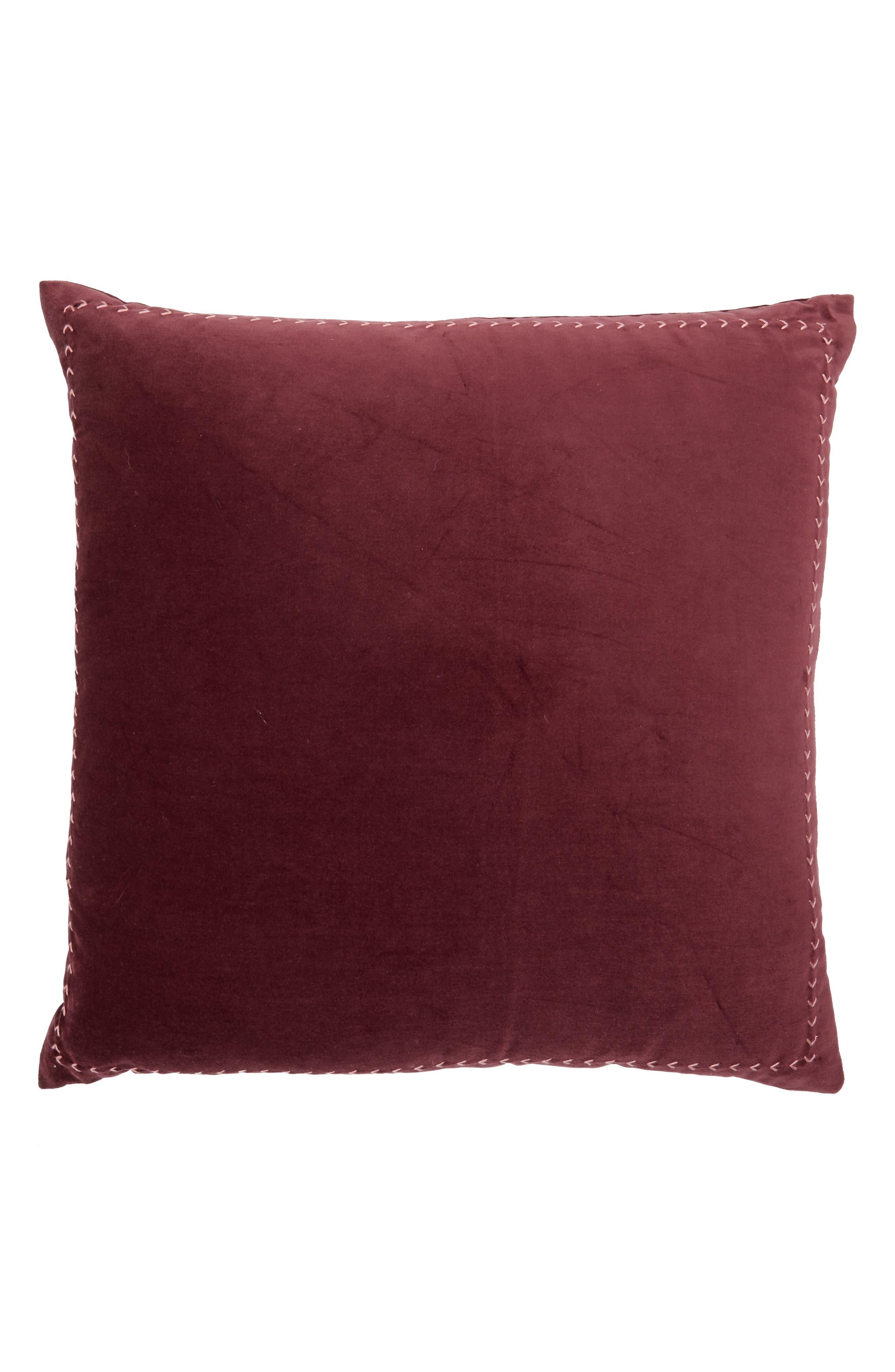 Velvet Accent Pillow,                             Main thumbnail 1, color,                             Burgundy