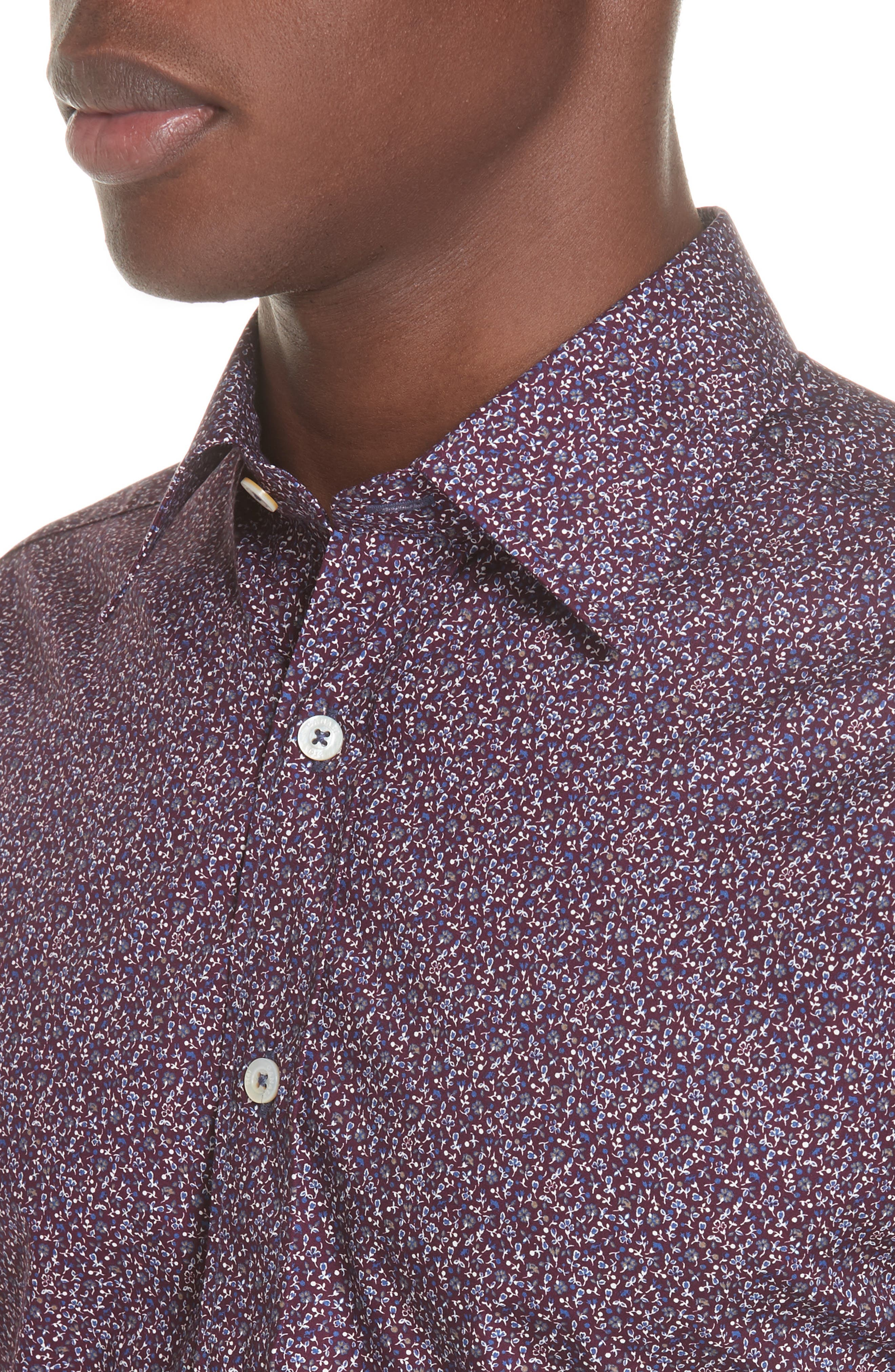 Classic Fit Floral Dress Shirt,                             Alternate thumbnail 2, color,                             Dark Red