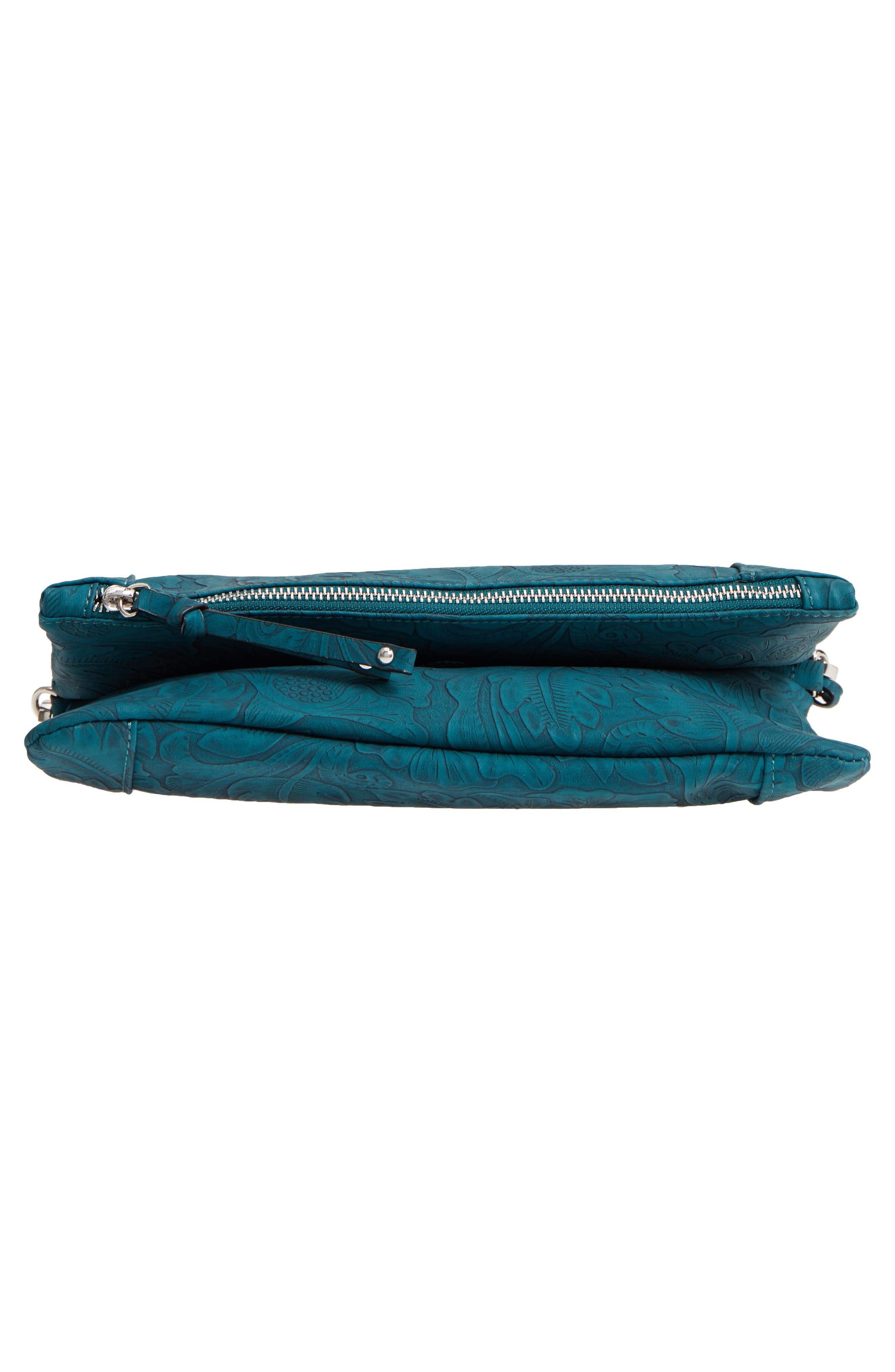 Tooled Faux Leather Foldover Clutch,                             Alternate thumbnail 5, color,                             Teal