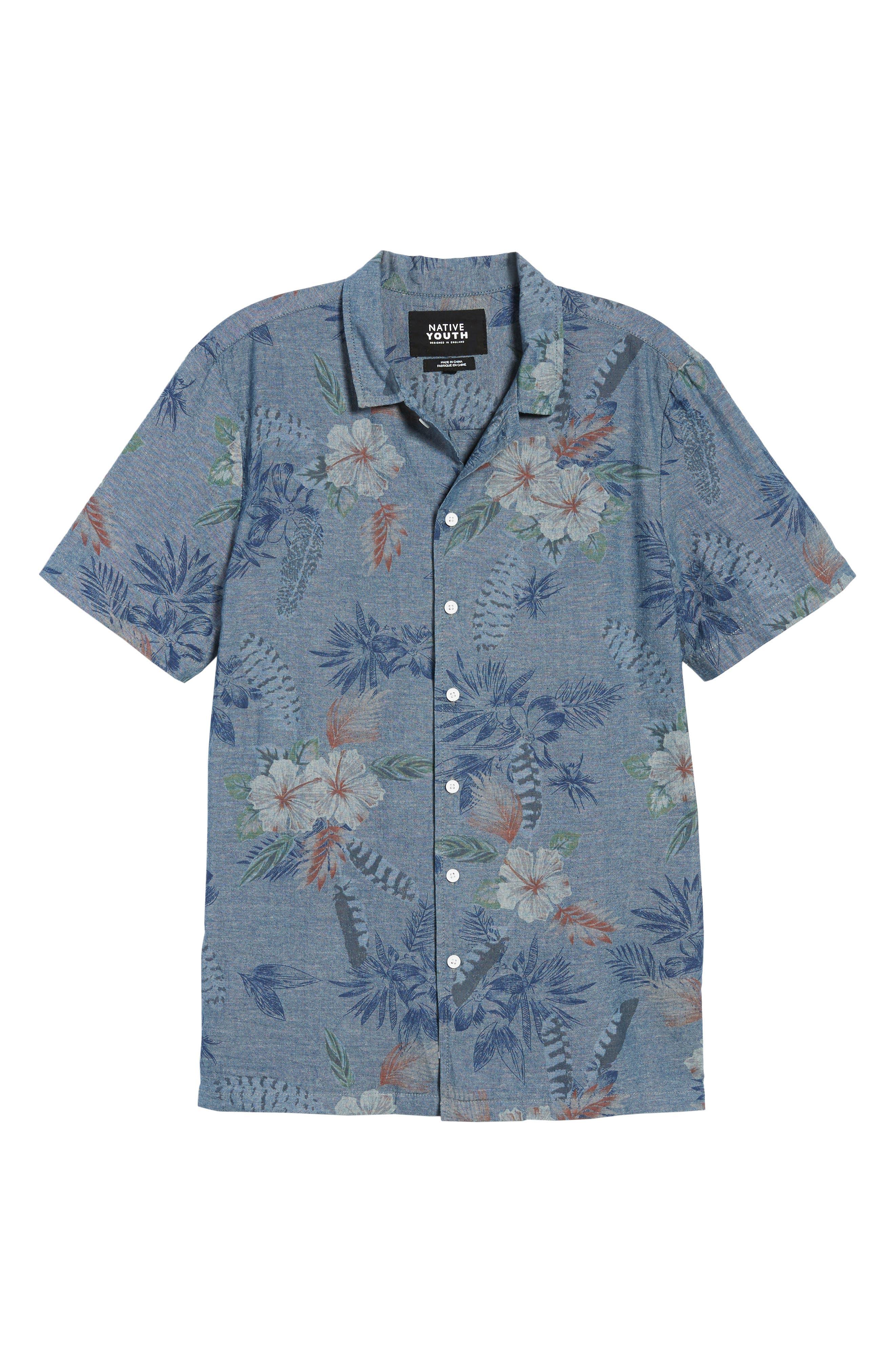 Floral Sketch Short Sleeve Sport Shirt,                             Alternate thumbnail 5, color,                             Indigo