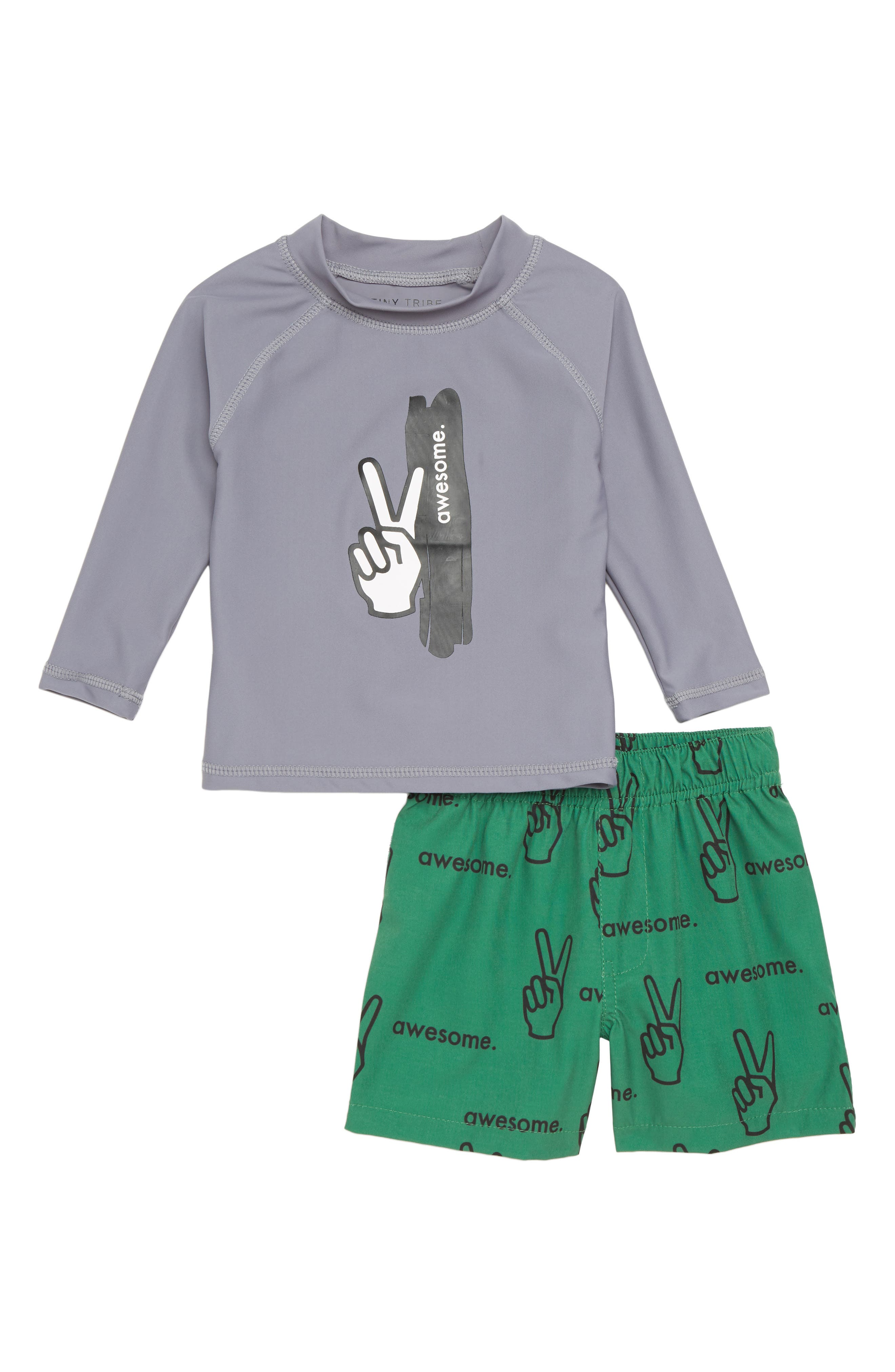 Boys are Awesome Two-Piece Rashguard Swimsuit,                             Main thumbnail 1, color,                             Grey/ Green