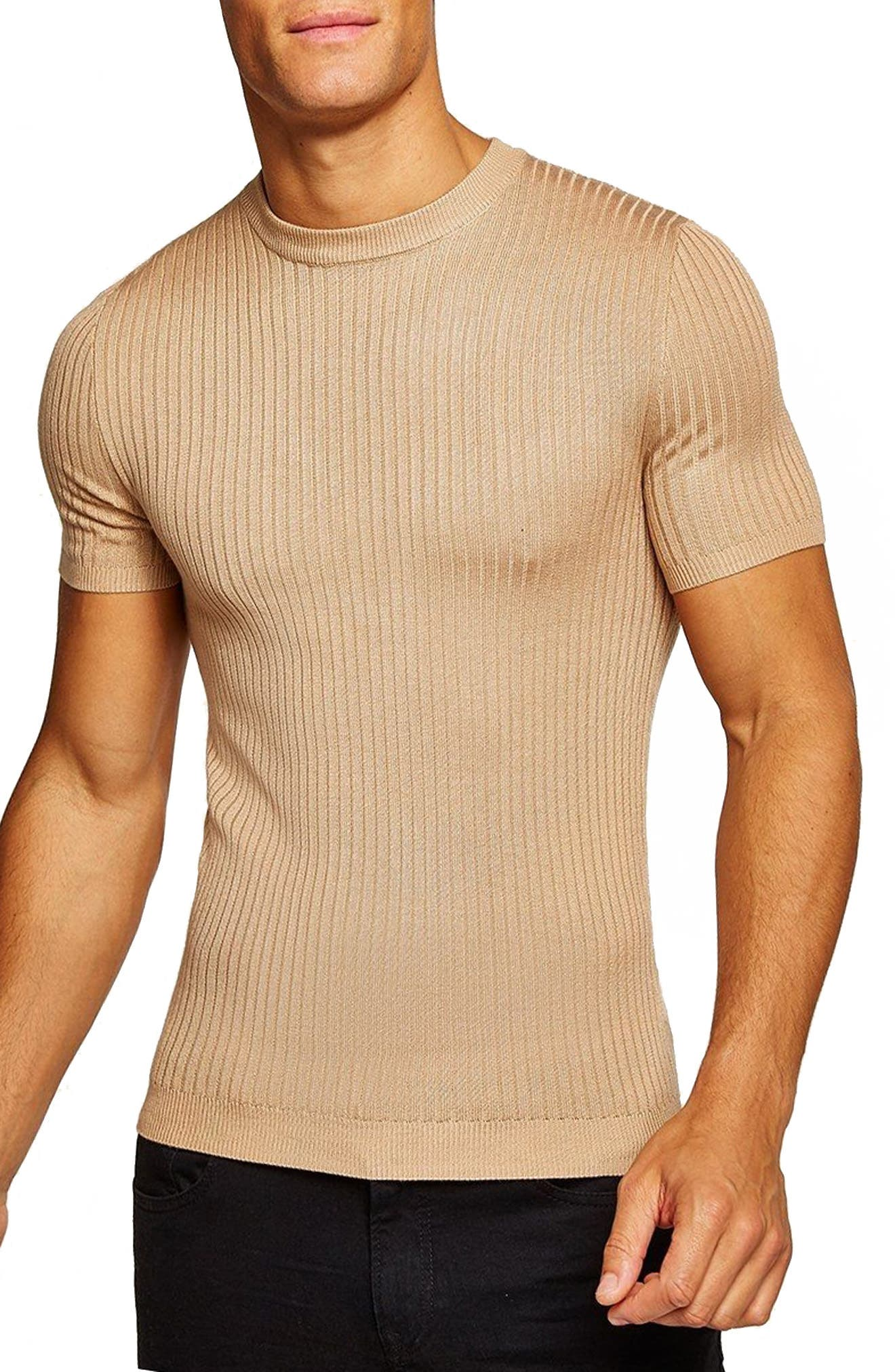 Short Sleeve Muscle Fit Shirt,                         Main,                         color, Stone