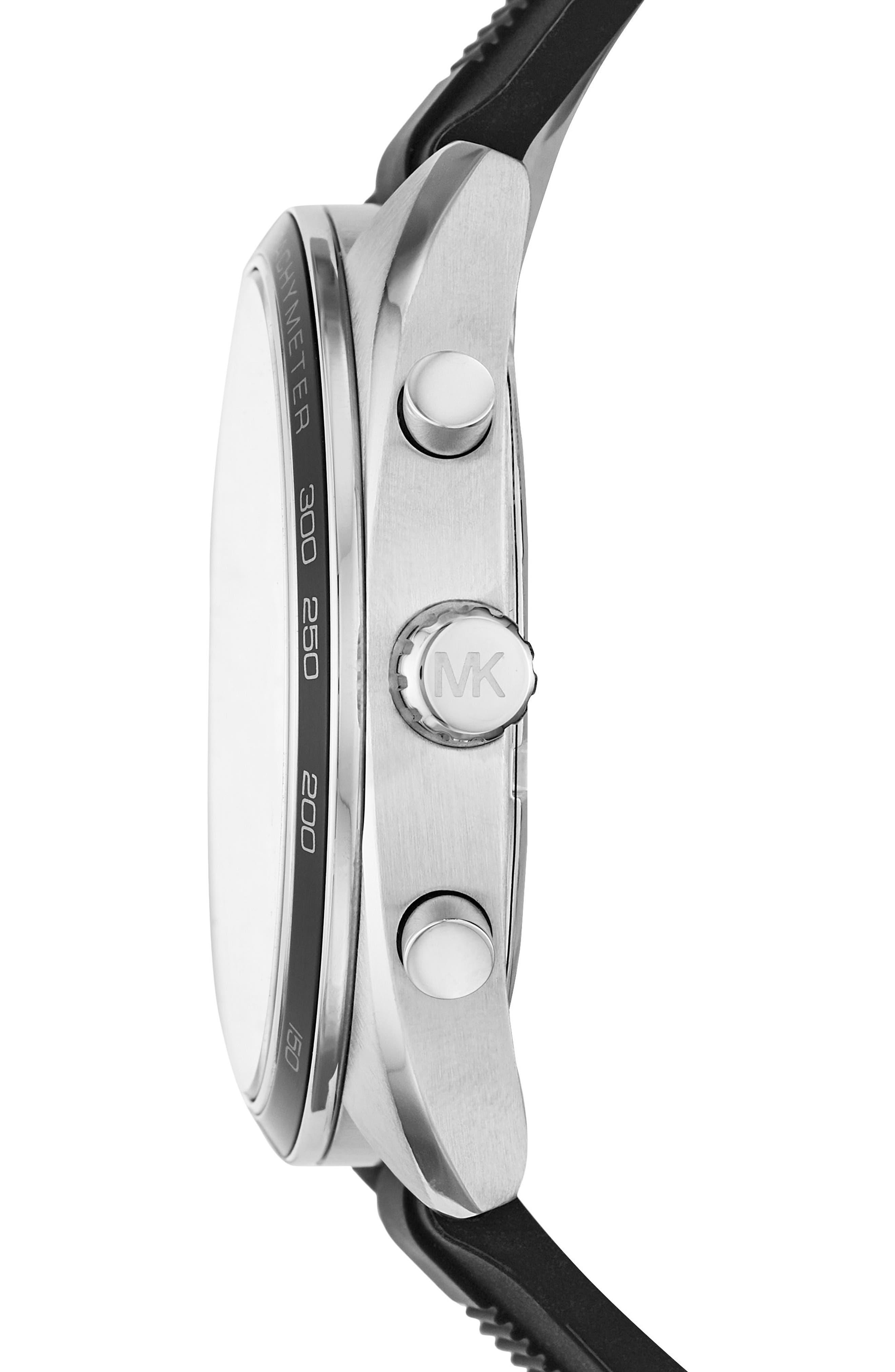 Dane Silicone Strap Watch, 43mm,                             Alternate thumbnail 2, color,                             Black/ Silver