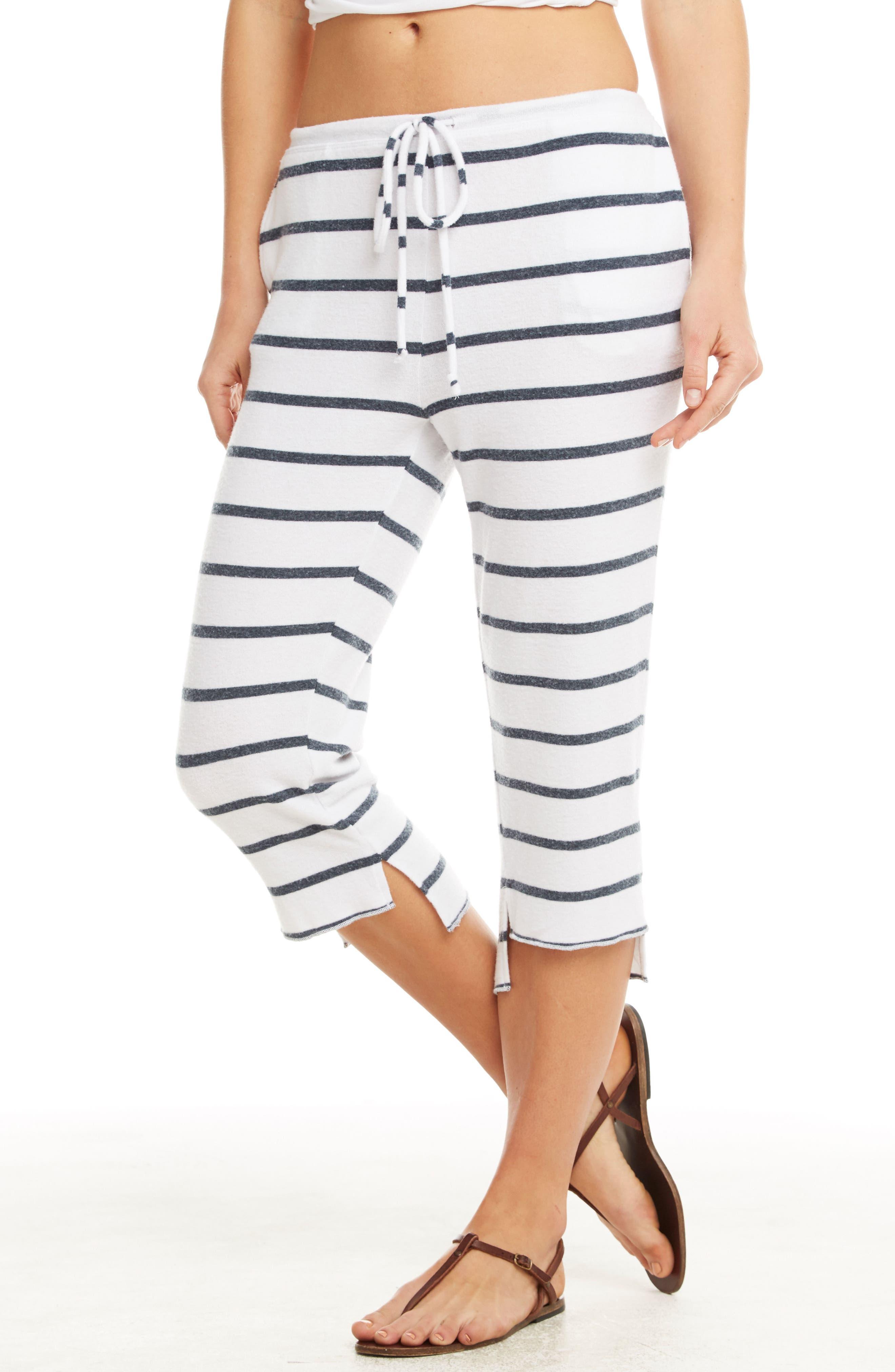 Love Knit Crop Pajama Pants,                             Alternate thumbnail 3, color,                             Stripe