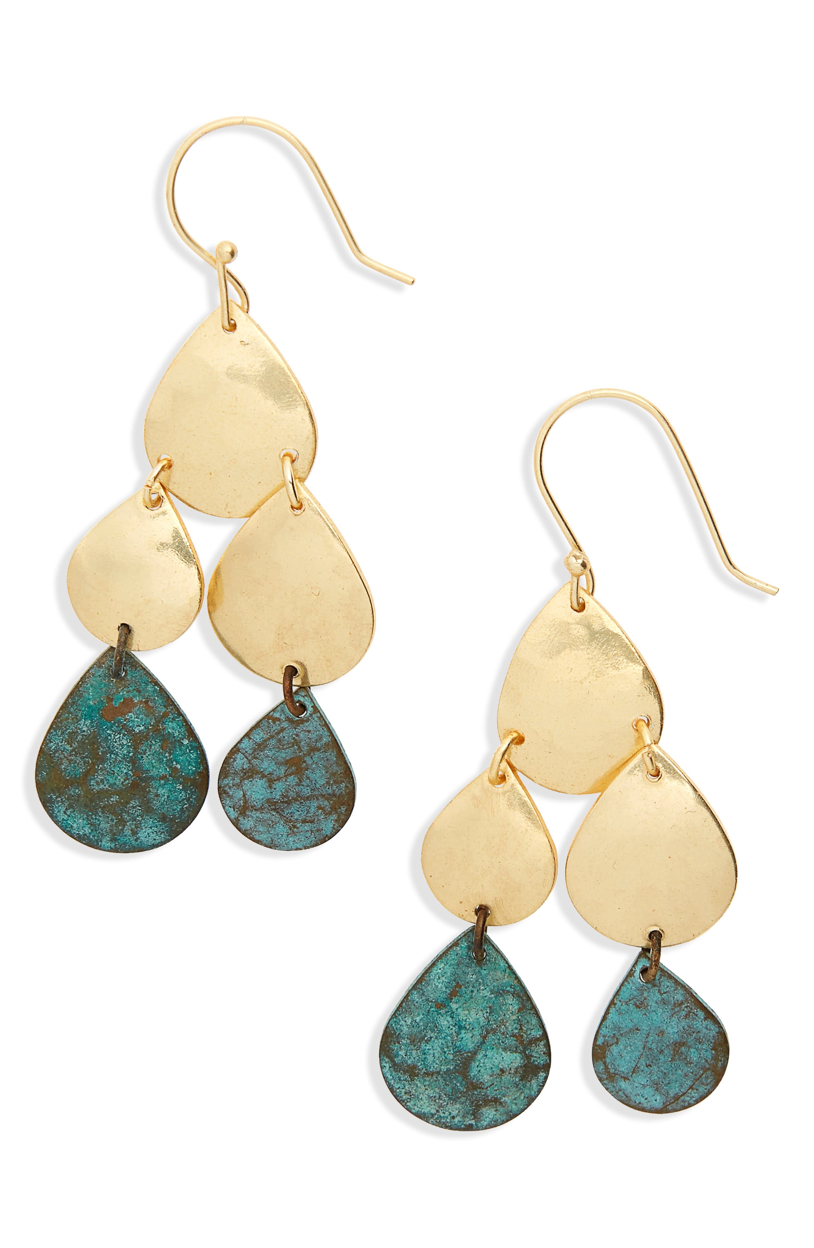 Patina Teardrops Earrings,                         Main,                         color, Gold/ Multi