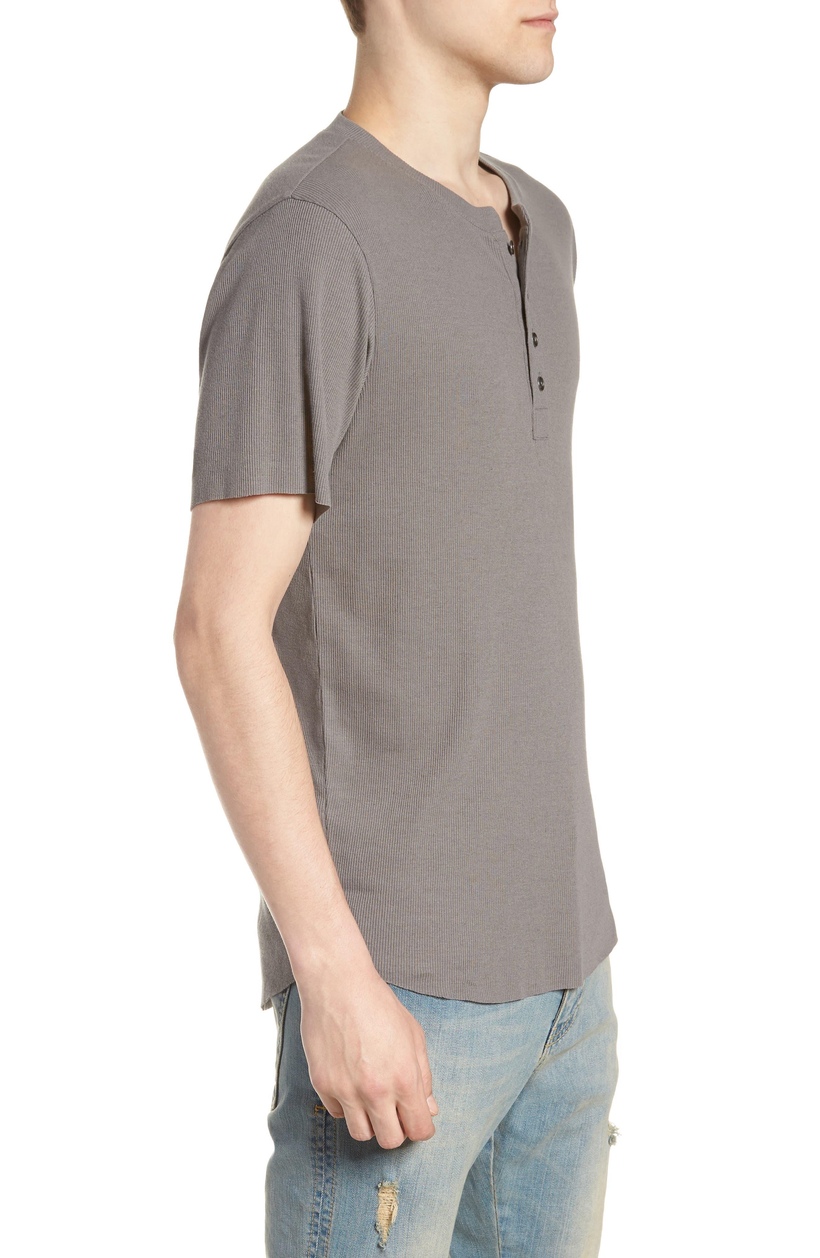 Ribbed Henley T-Shirt,                             Alternate thumbnail 2, color,                             Grey Shade