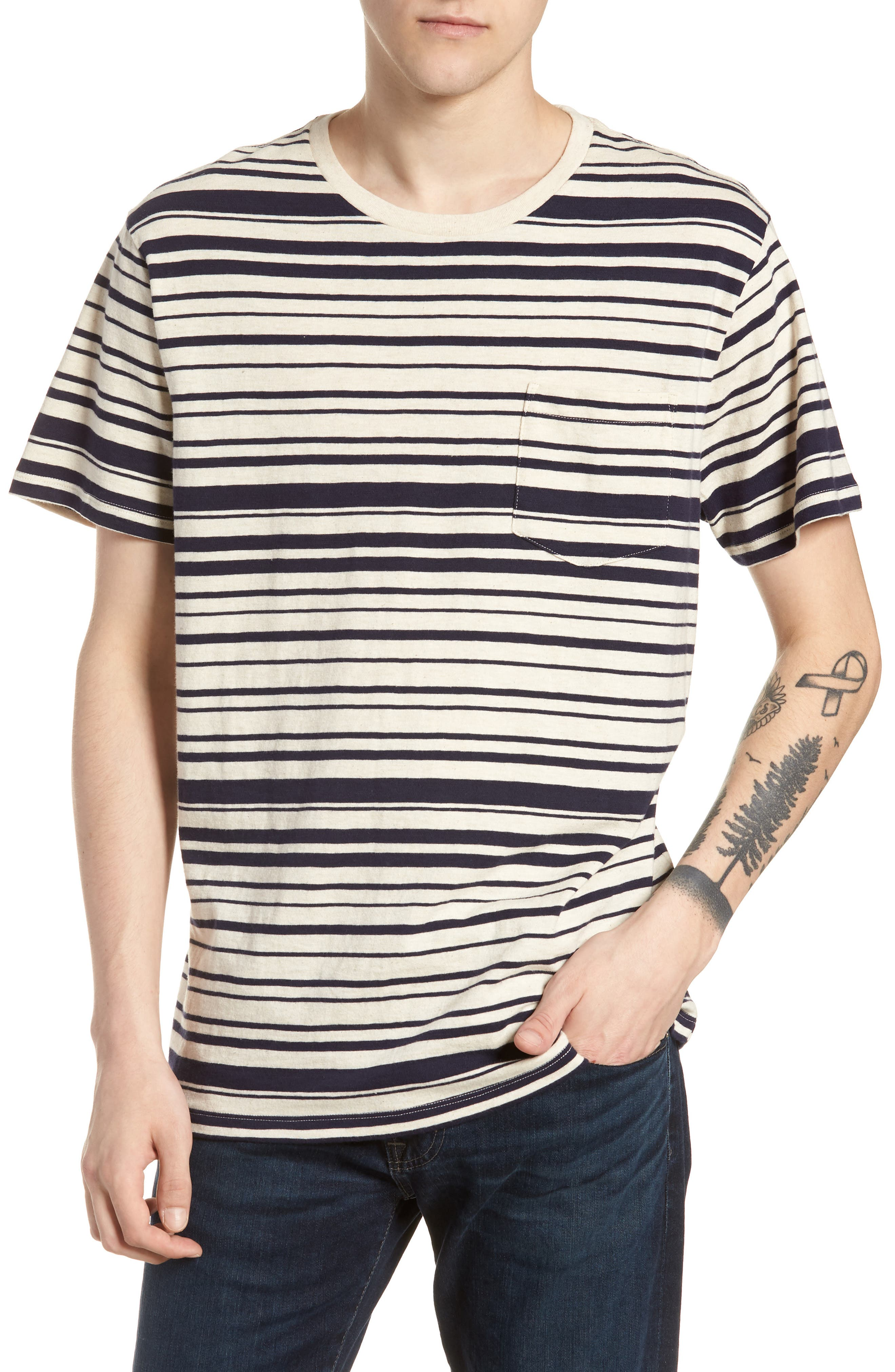 Variegated Stripe Slub Cotton T-Shirt,                         Main,                         color, Ivory Navy