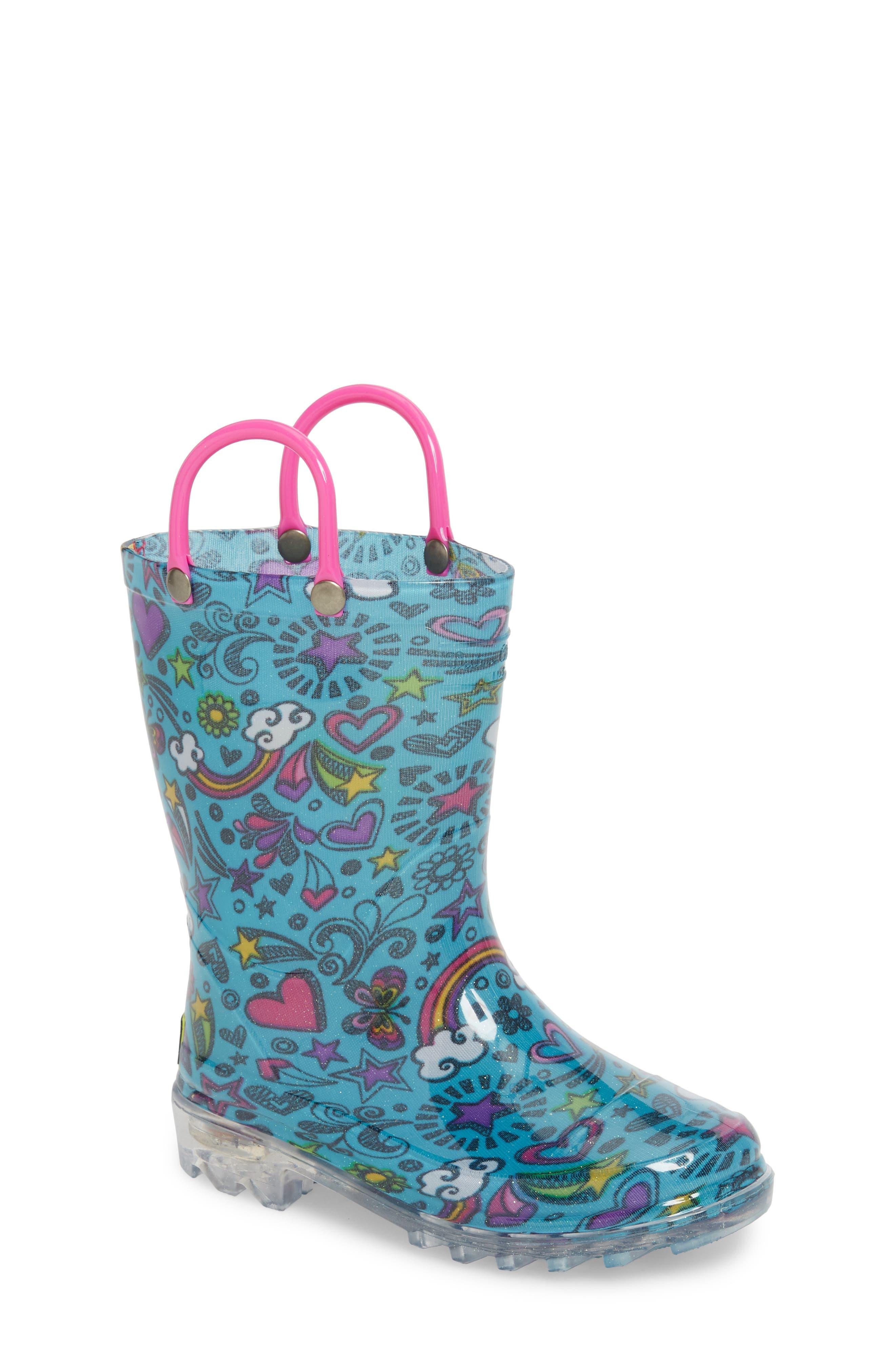 Sketchbook Light-Up Rain Boot,                         Main,                         color, Teal