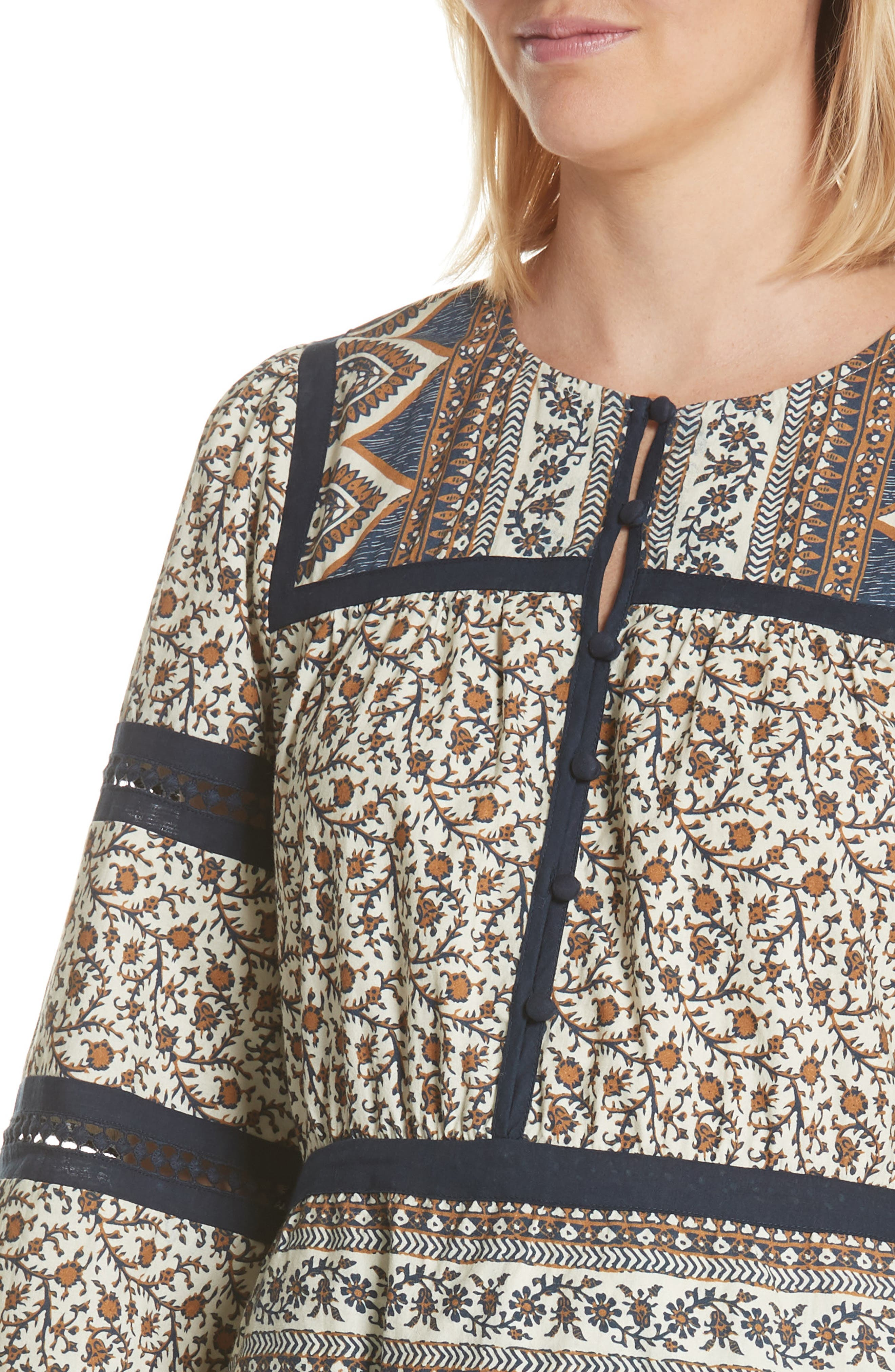 Contrast Binding Print Dress,                             Alternate thumbnail 4, color,                             Cafe