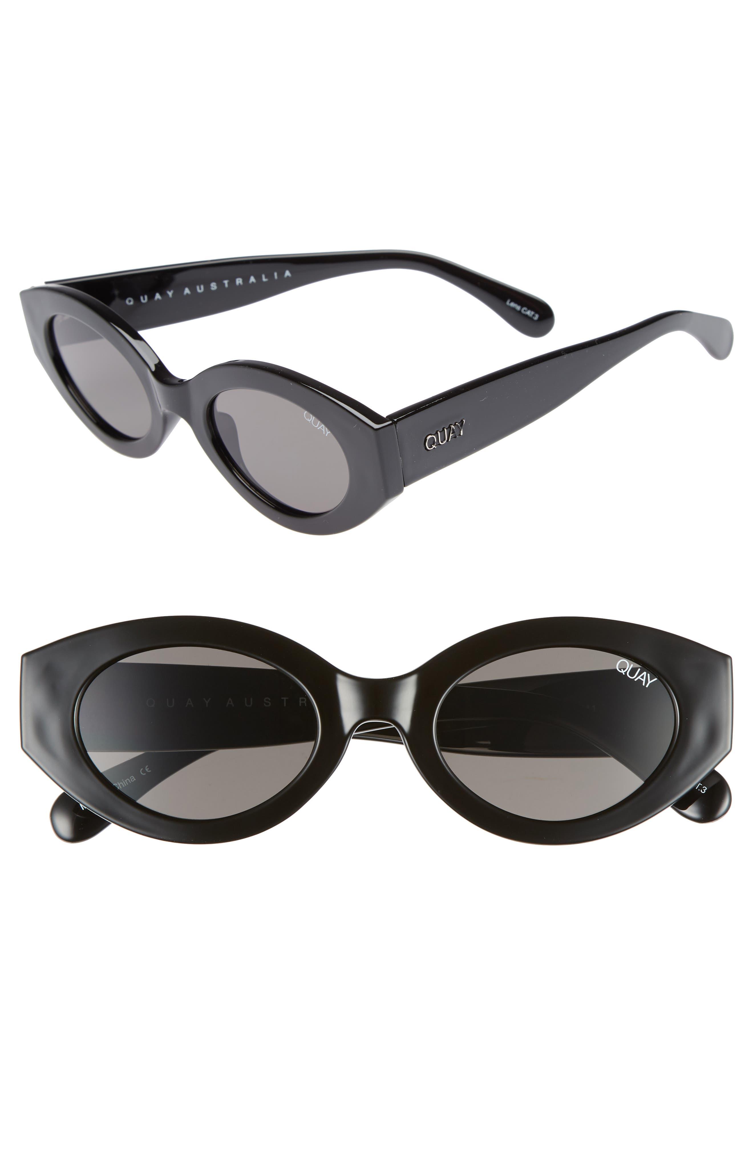 See Me Smile 50mm Cat Eye Sunglasses,                             Main thumbnail 1, color,                             Black/ Smoke