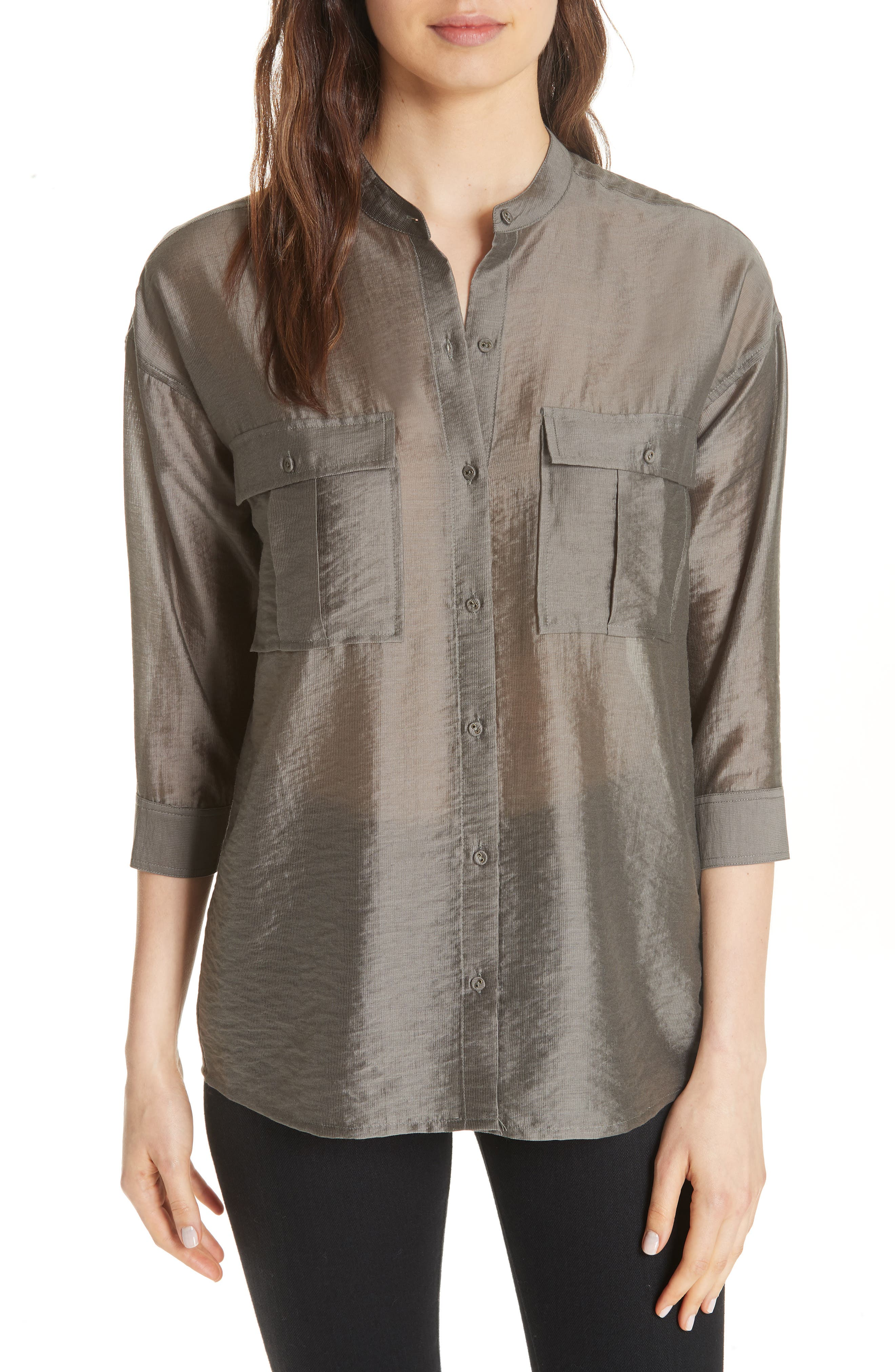 Lidelle Tie Front Tunic Top,                         Main,                         color, Moss