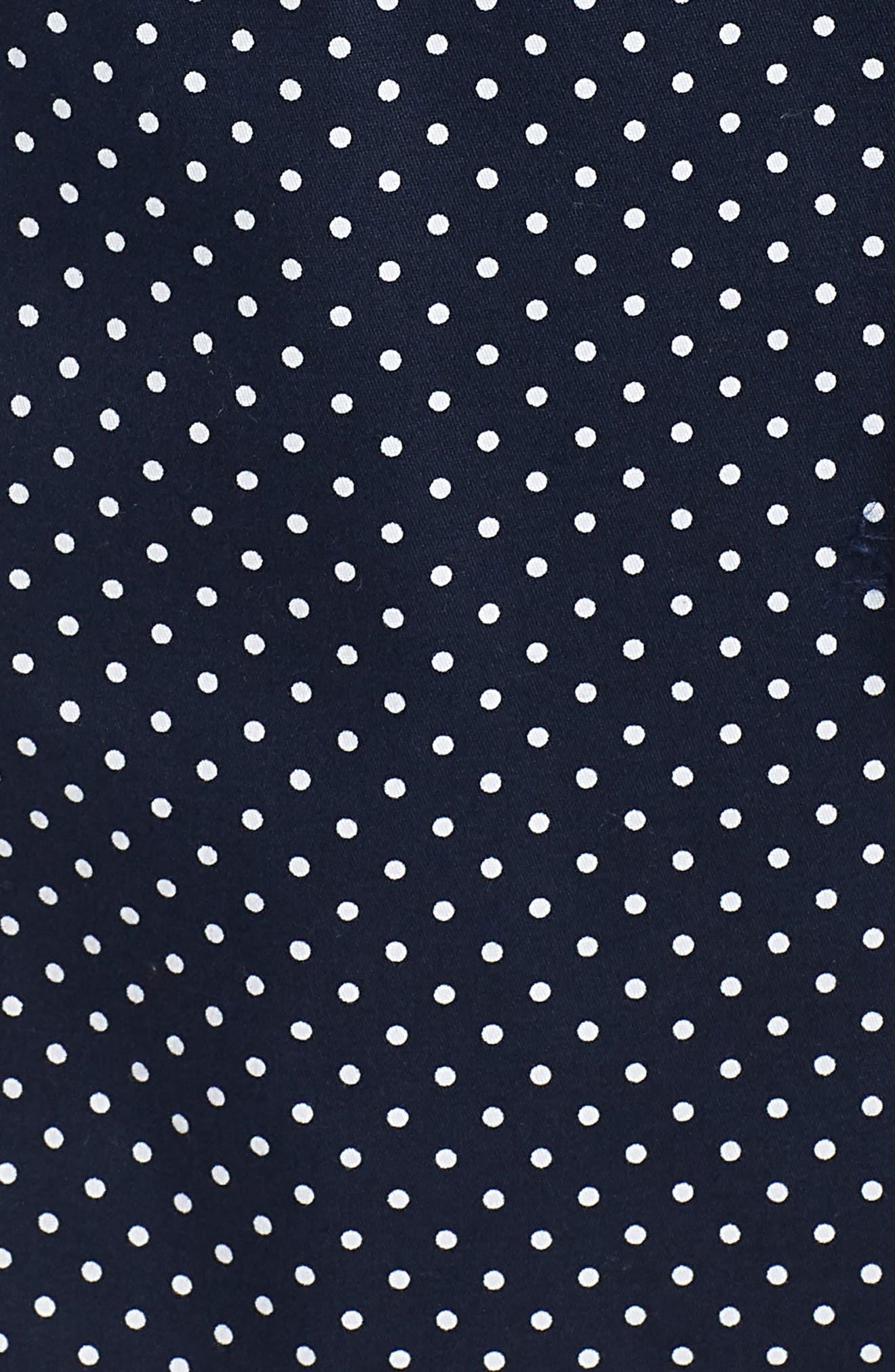 Polka Dot Single Breasted Trench Coat,                             Alternate thumbnail 6, color,                             Navy